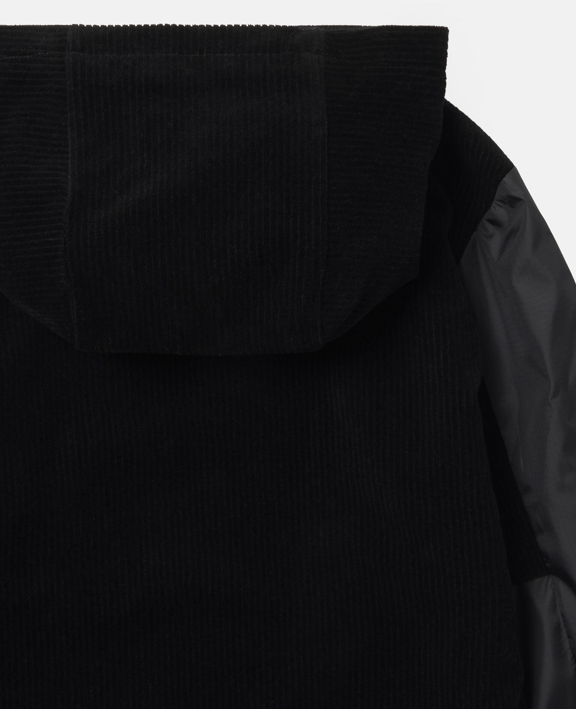 Oversized Corduroy Logo Hoodie-Black-large image number 2