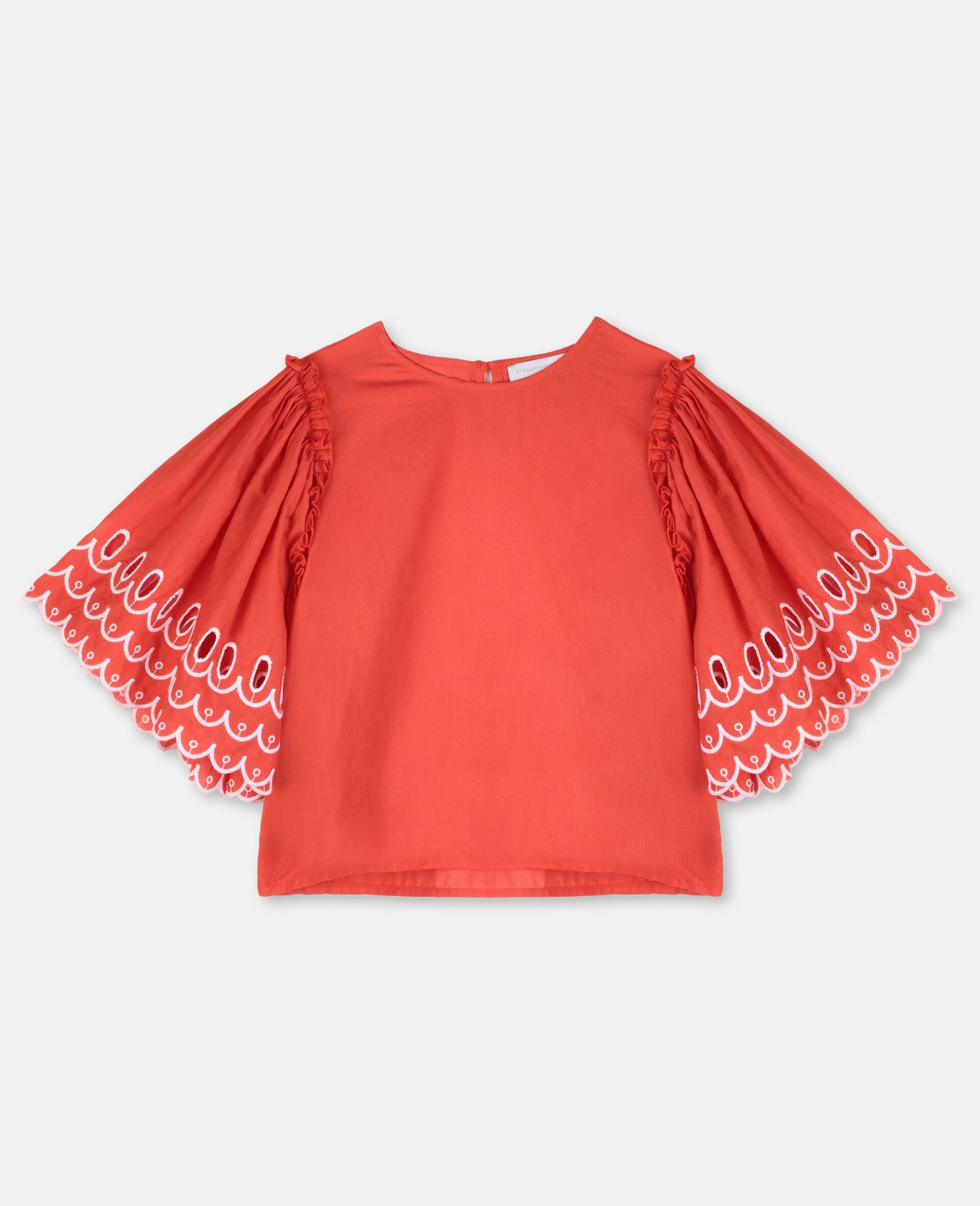 Top en coton festonné-Rouge-large image number 0
