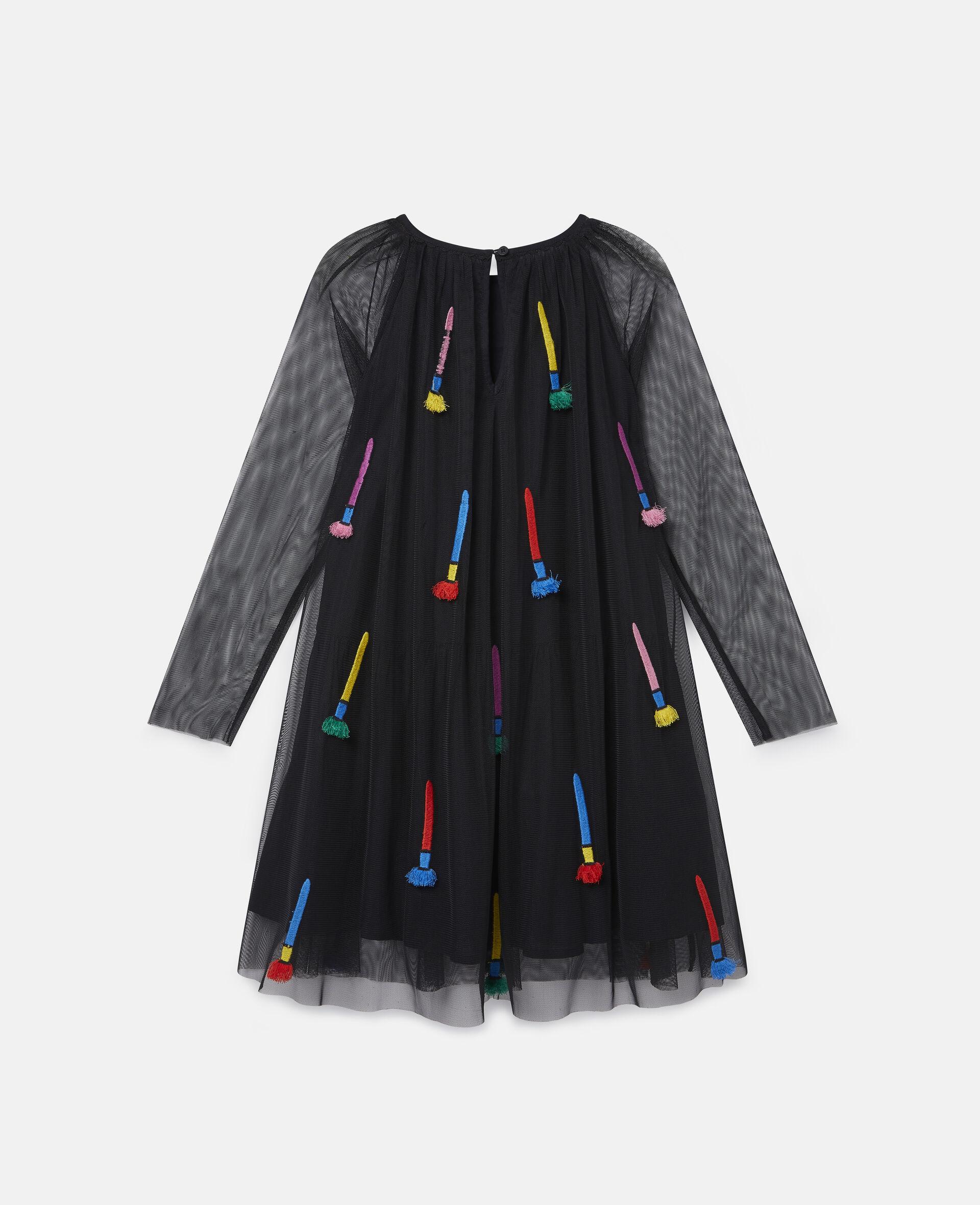 Kleid aus Tüll mit Pinsel-Stickerei-Schwarz-large image number 3