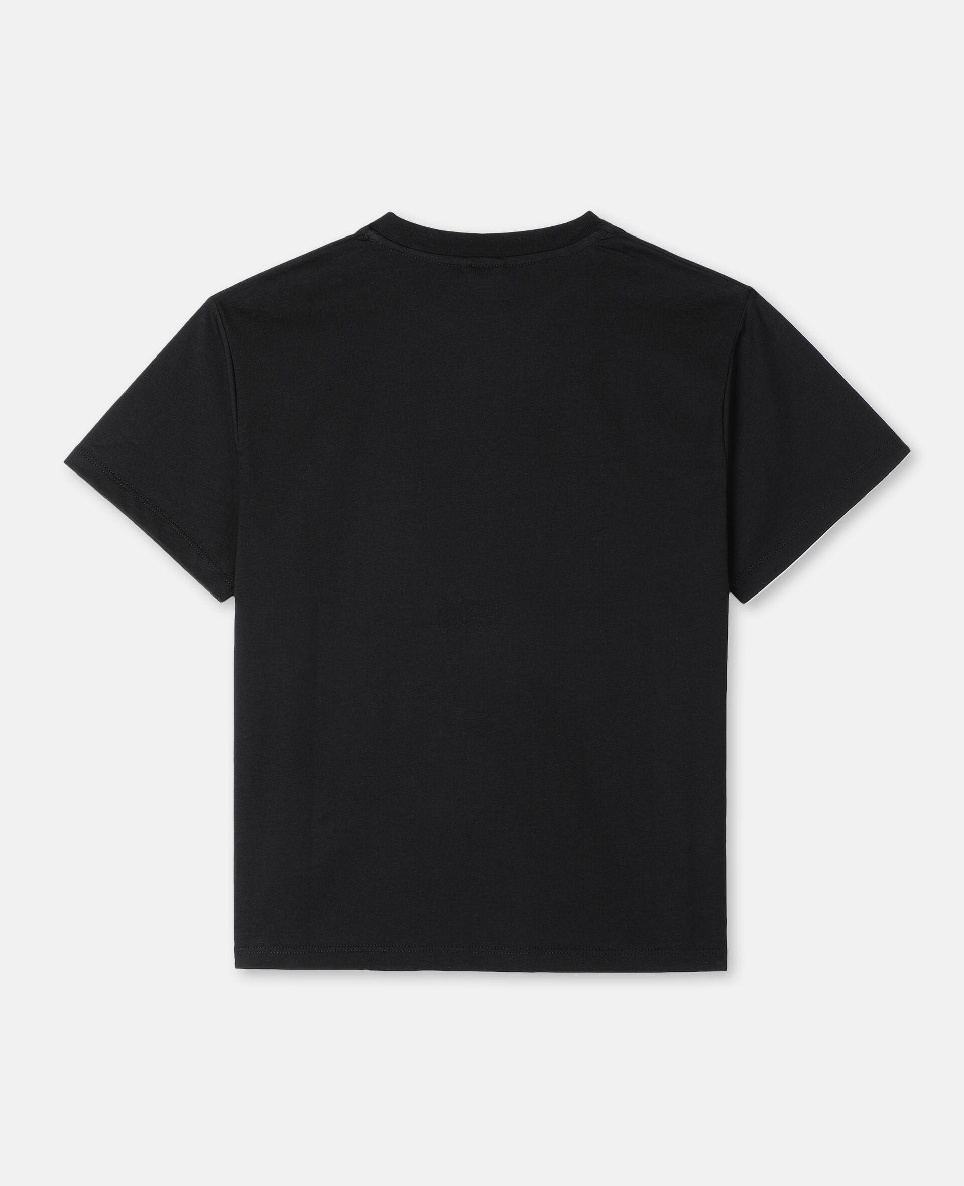 Oversize Logo Palm Cotton T-shirt -Black-large image number 3