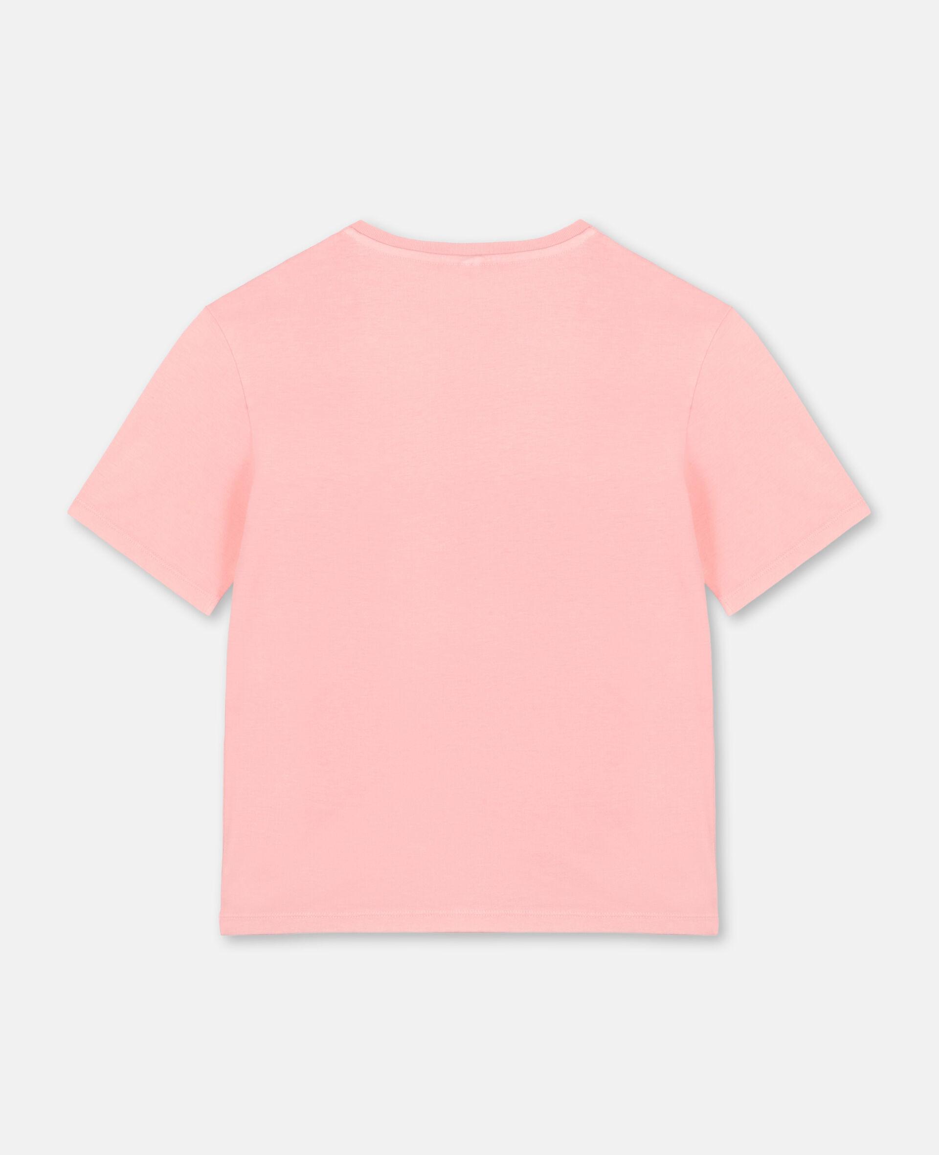 T-shirt oversize en coton avec logo et motif palmier-Rose-large image number 3