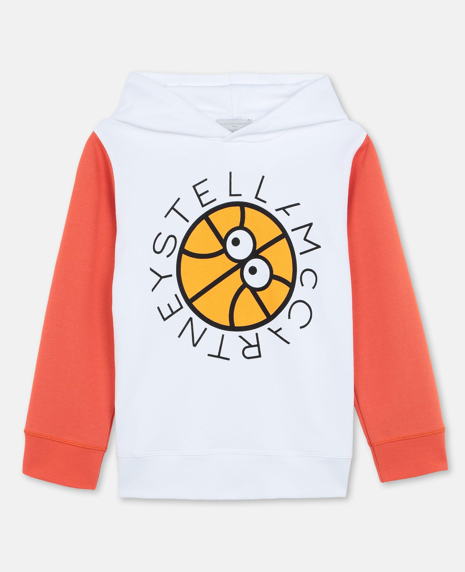 Oversized-Kapuzenpullover aus Baumwolle mit Basketball-Print und Logo-Weiß-large image number 0
