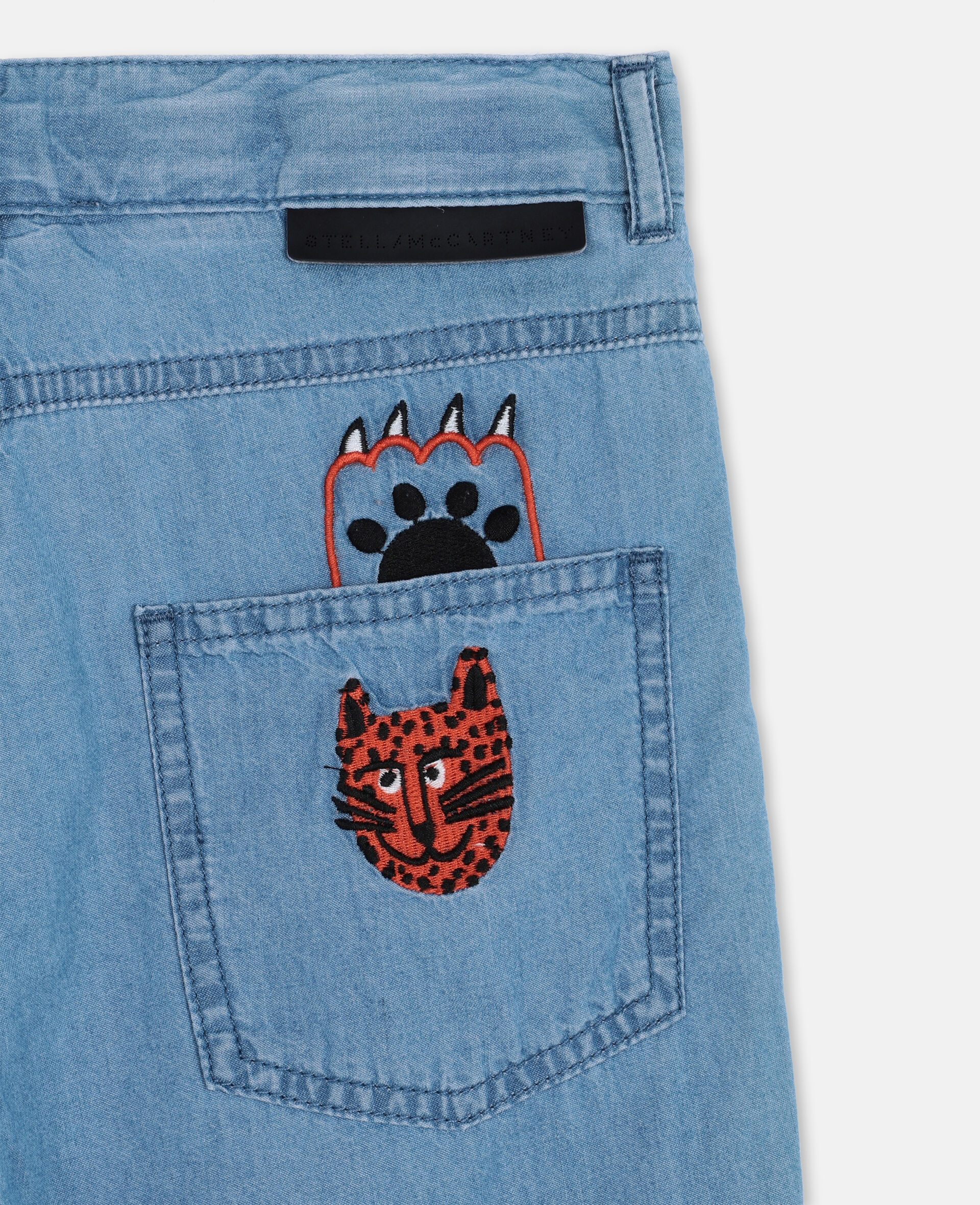 Embroidered Cats Cotton Chambray Shorts -Blue-large image number 2