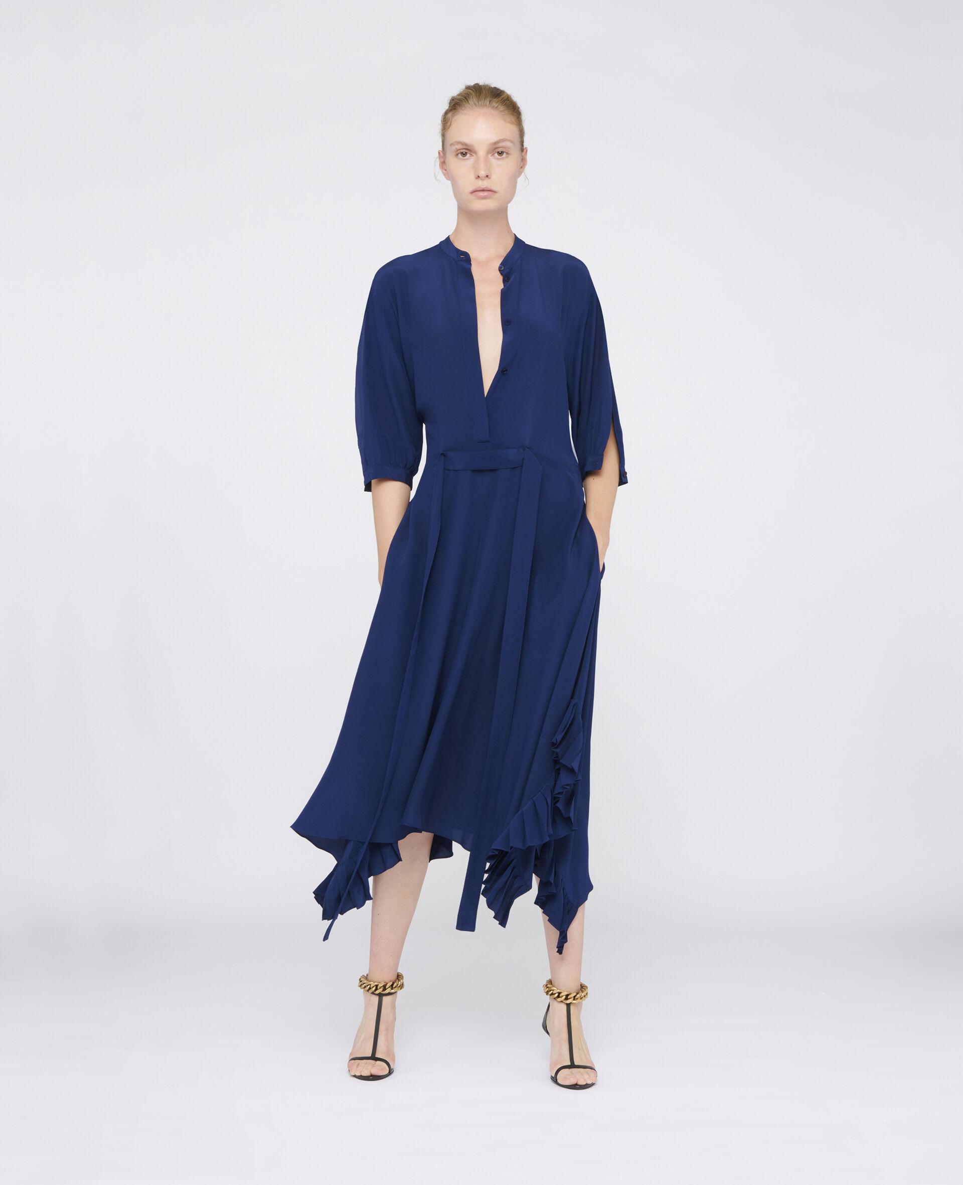 Stella McCartney Abito lungo di colore blu, maniche midi, chiusura con bottoni nascosti sul davanti.
