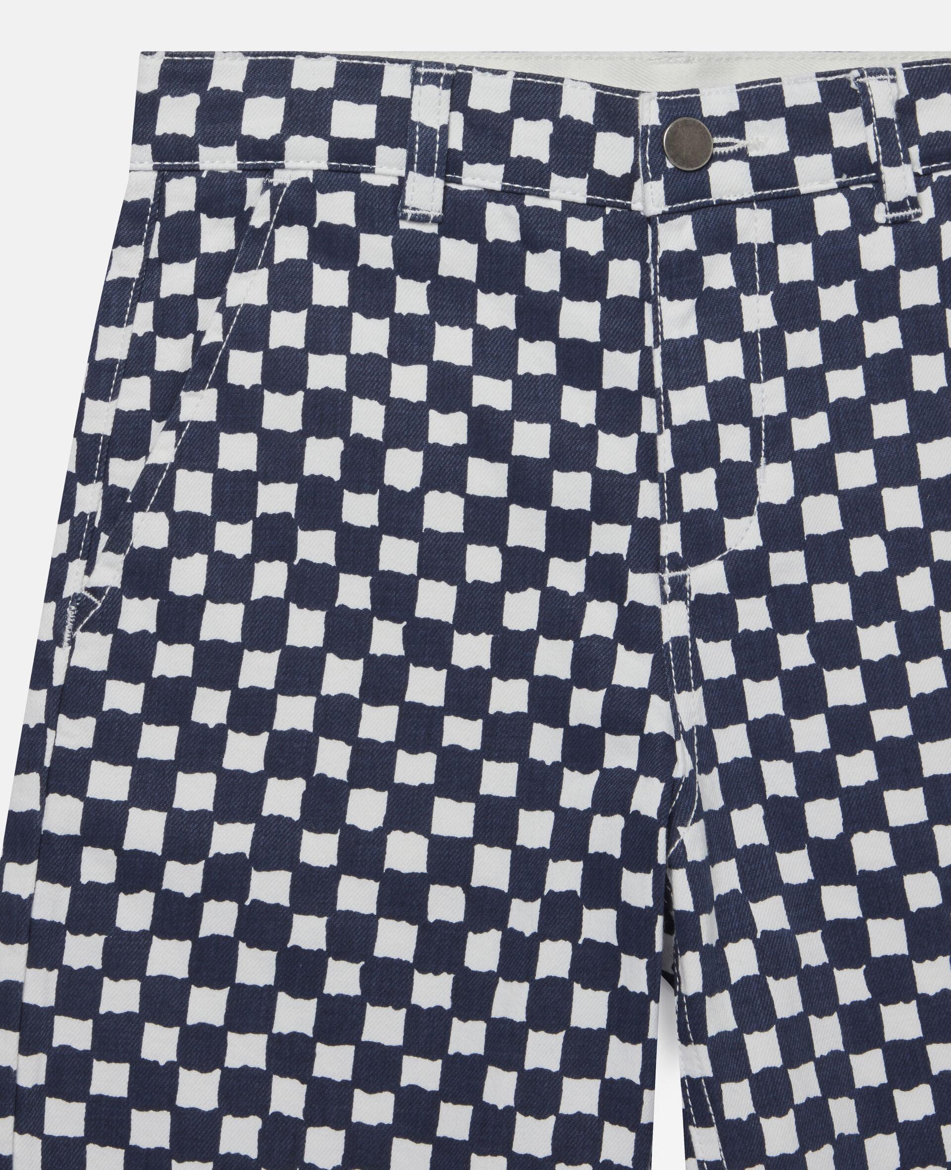 Checked Denim Shorts -Multicolour-large image number 1