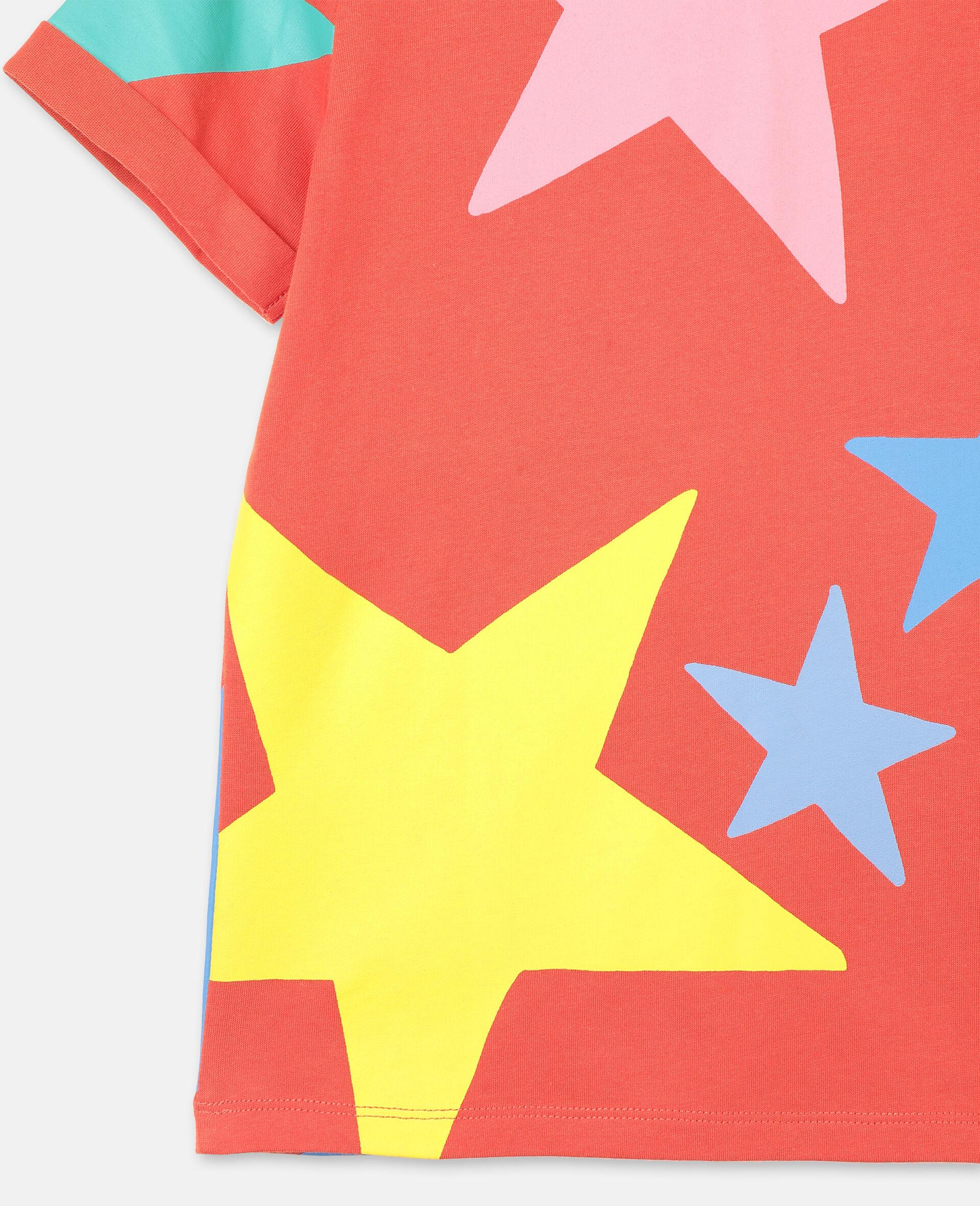 Multicolour Stars Cotton T-shirt-White-large image number 2