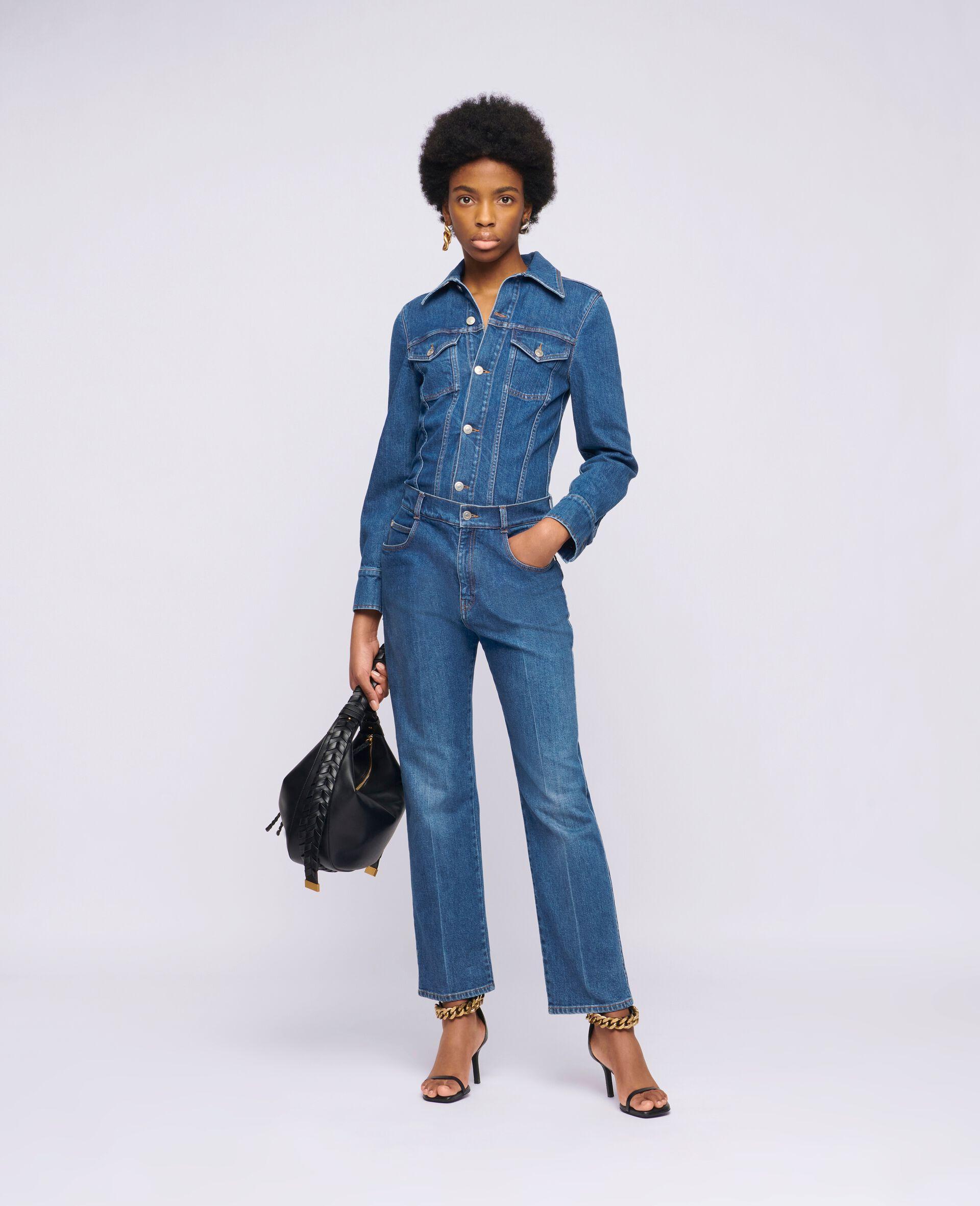 Vintage Wash Denim Jumpsuit -Blue-large image number 1
