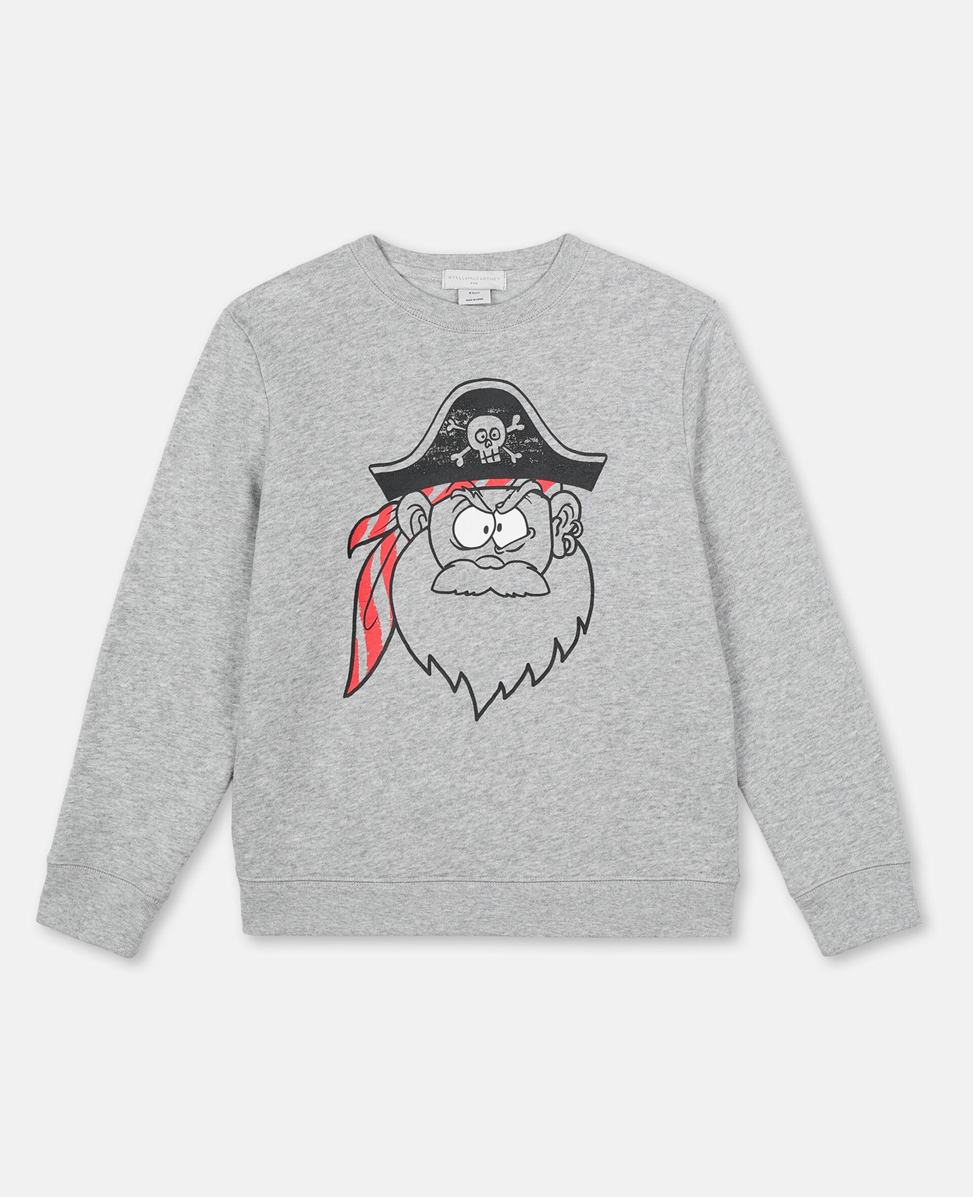 Baumwollsweatshirt mit Piraten-Print -Grau-large image number 0