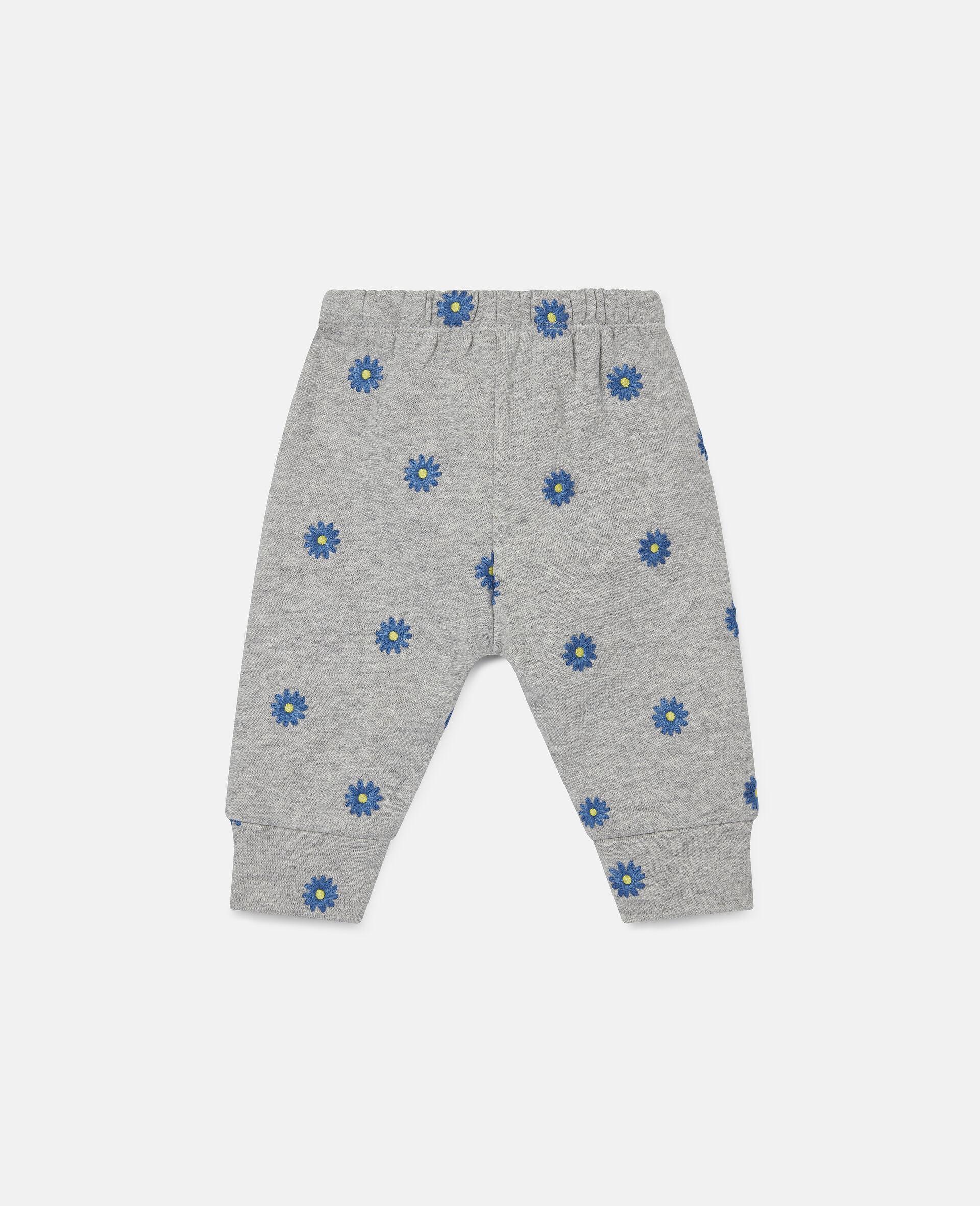 Pantaloni in Felpa di Cotone con Margherite Ricamate-Grigio-large image number 3