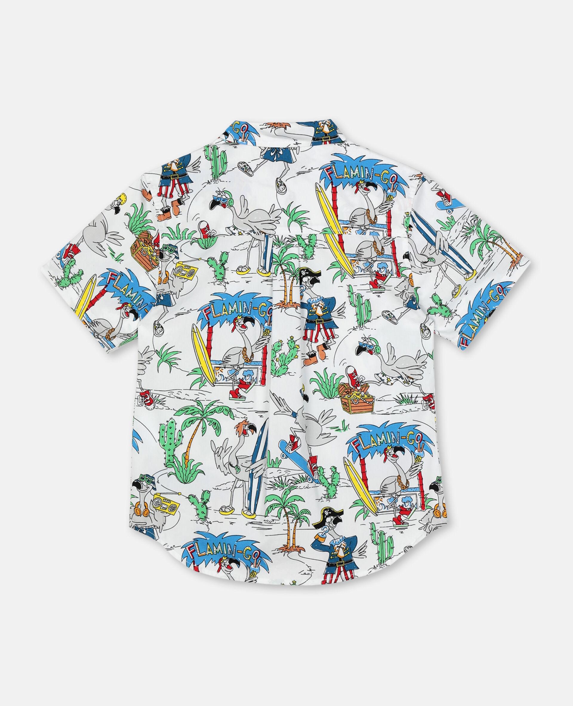 Oversize Flamingo Land Cotton Shirt -Multicolour-large image number 3