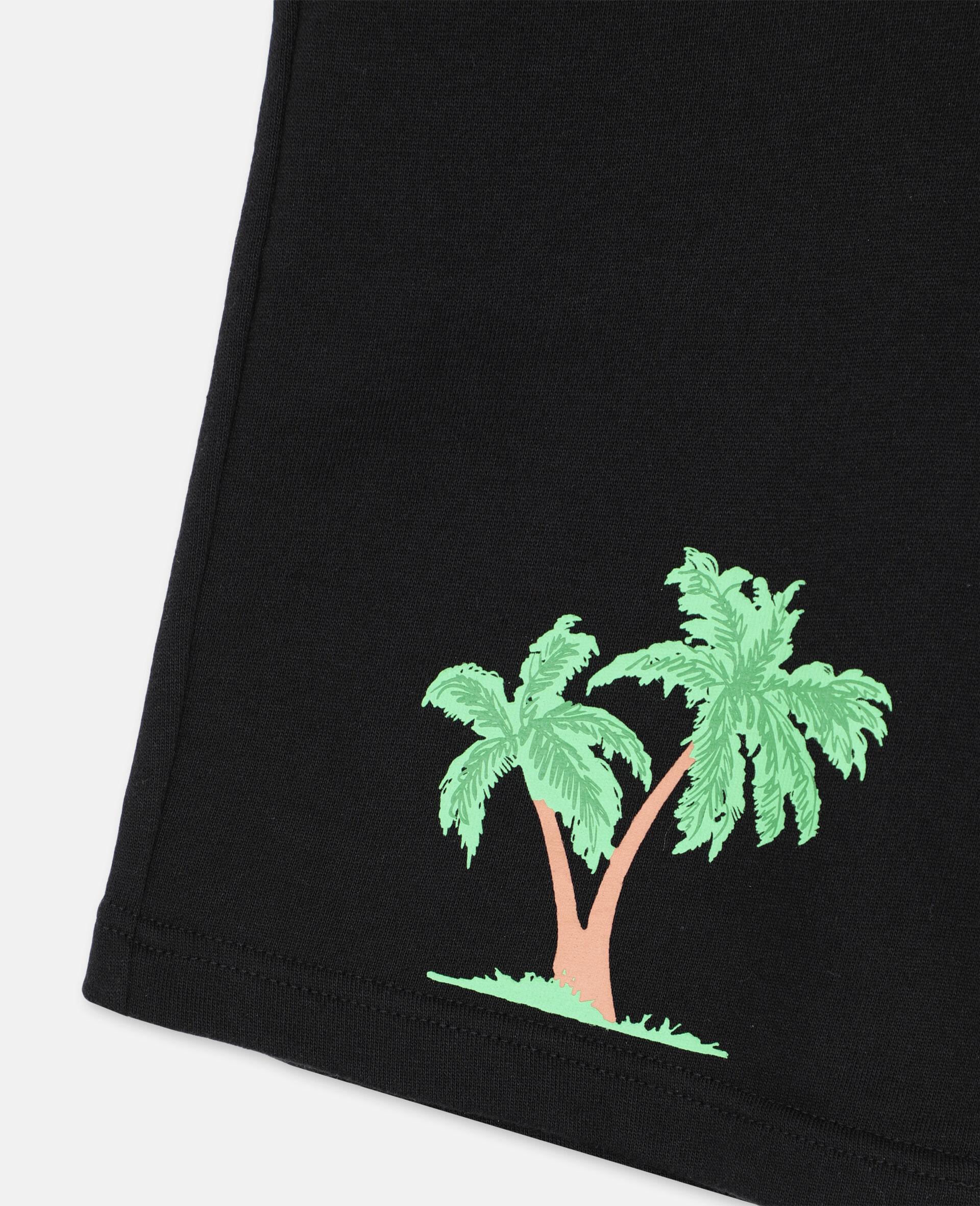 Short en coton à motif palmiers -Noir-large image number 1