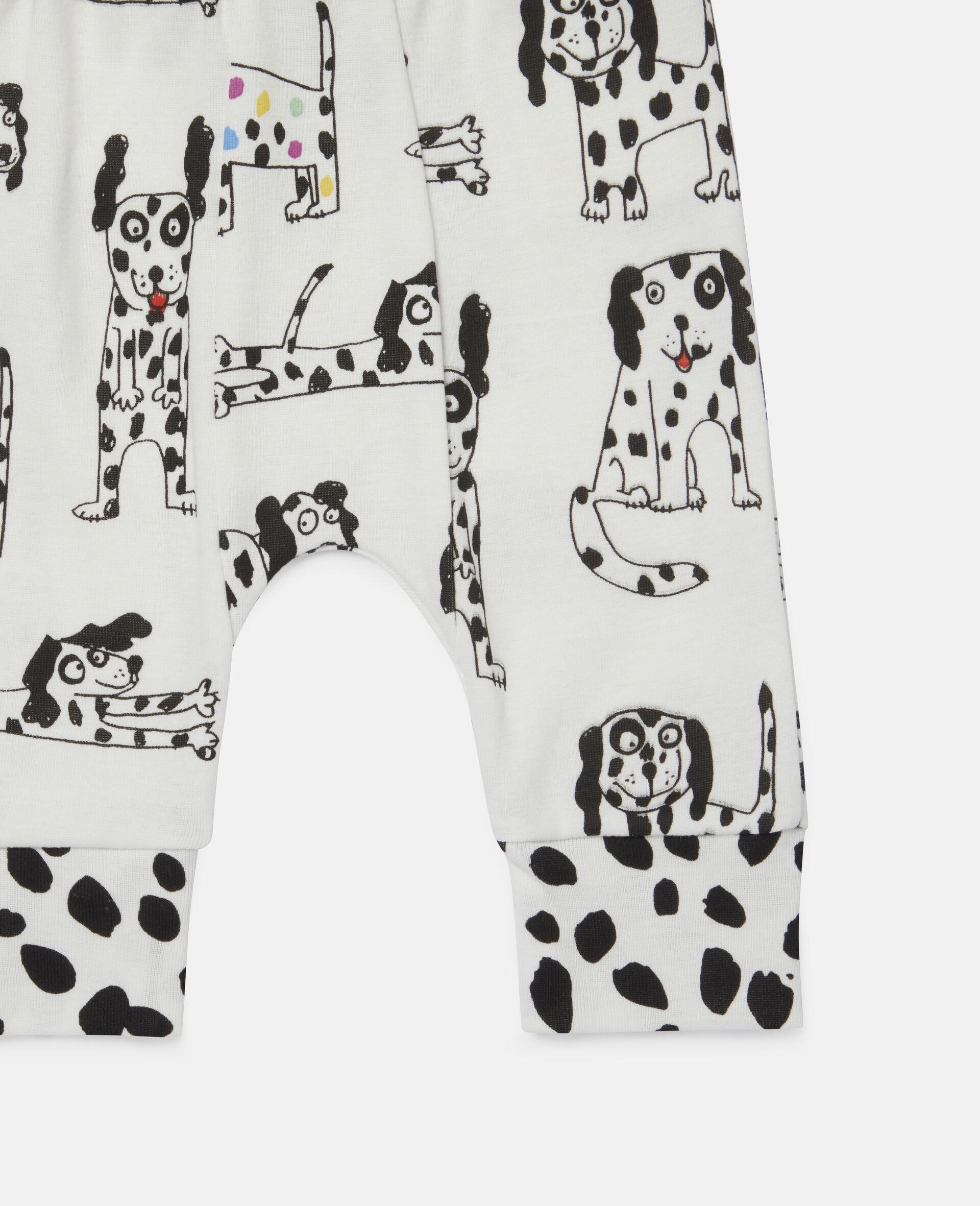 "Doodle Leggings aus geripptem Jersey mit ""Doodle Dalmatians""-Motiv-Weiß-large image number 1"