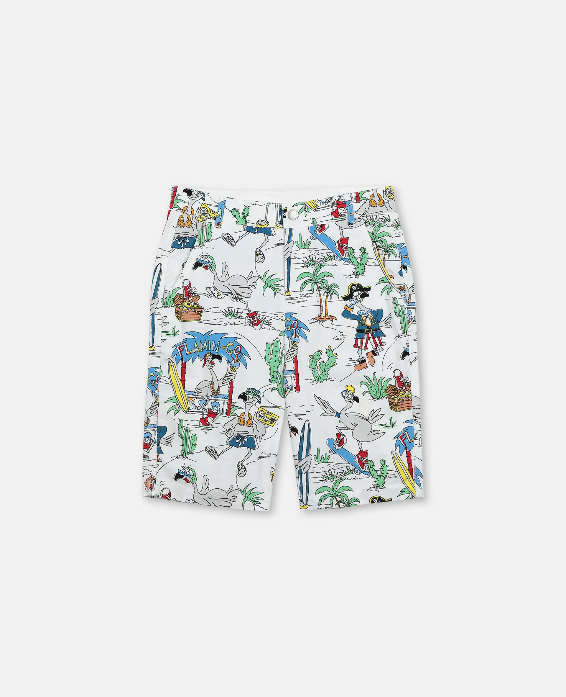 Flamingo Land Cotton Shorts -Multicolour-large