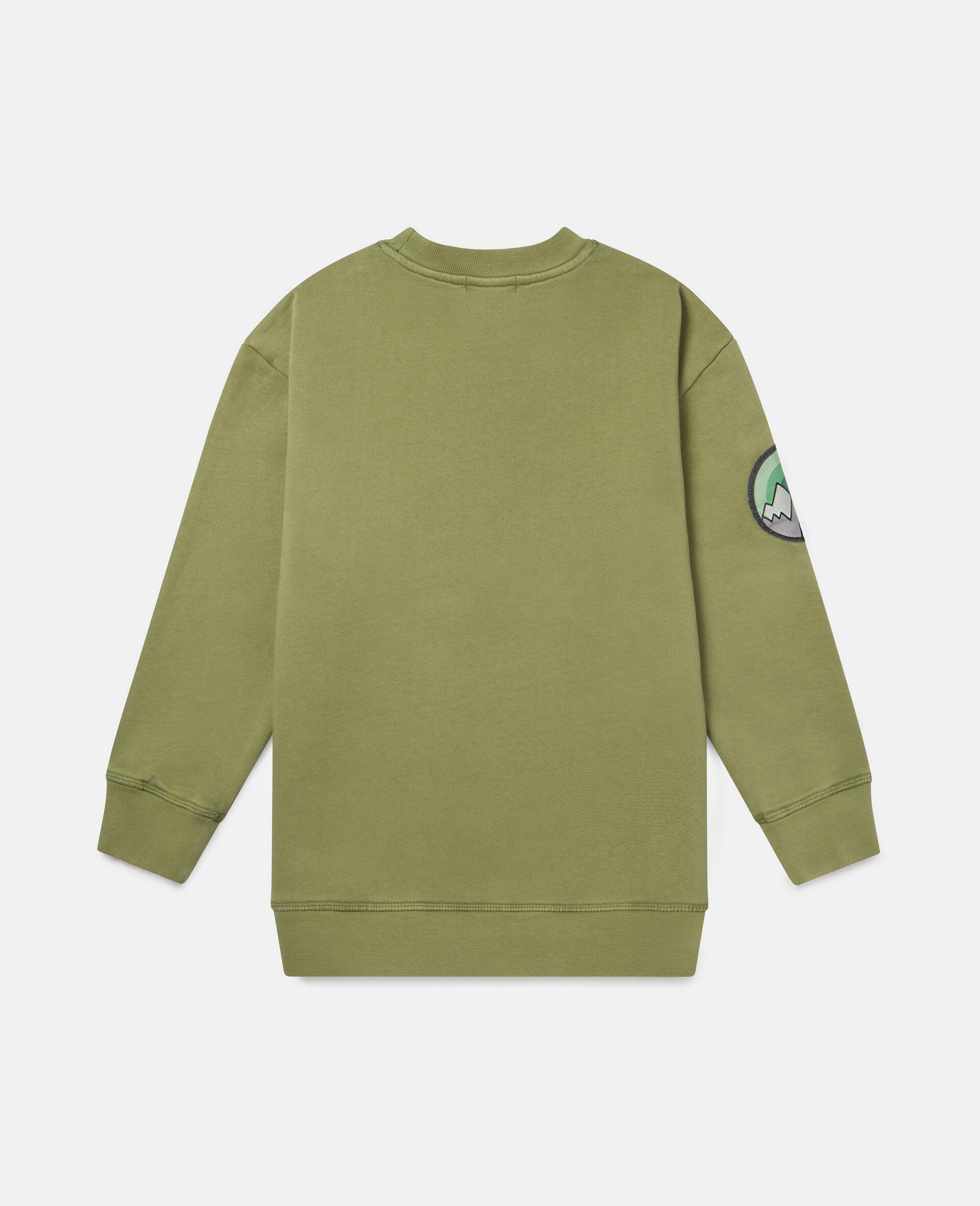 Oversized Mountain Fleece Sweatshirt-Green-large image number 3