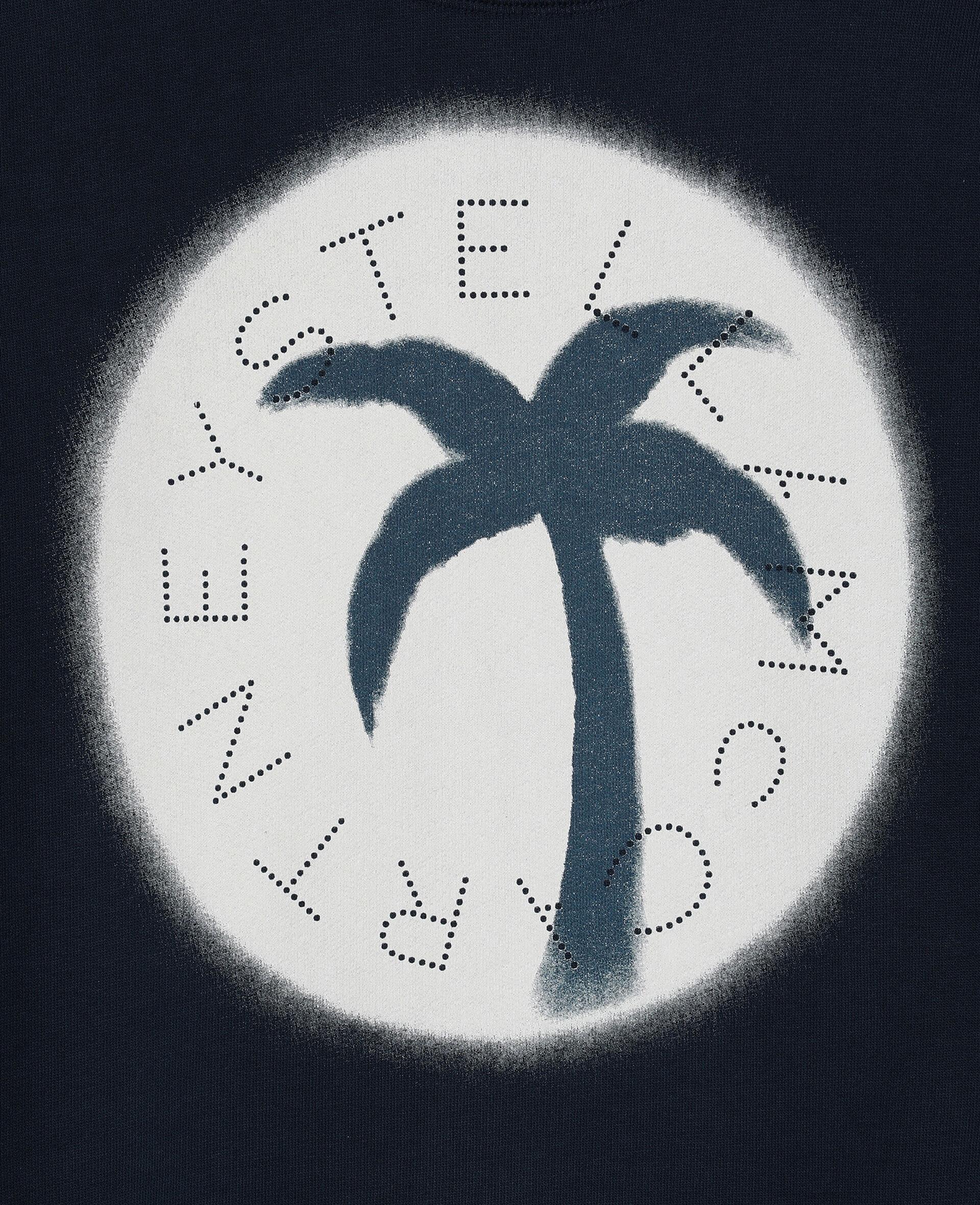 Logo阔型棉质抓绒卫衣-蓝色-large image number 1