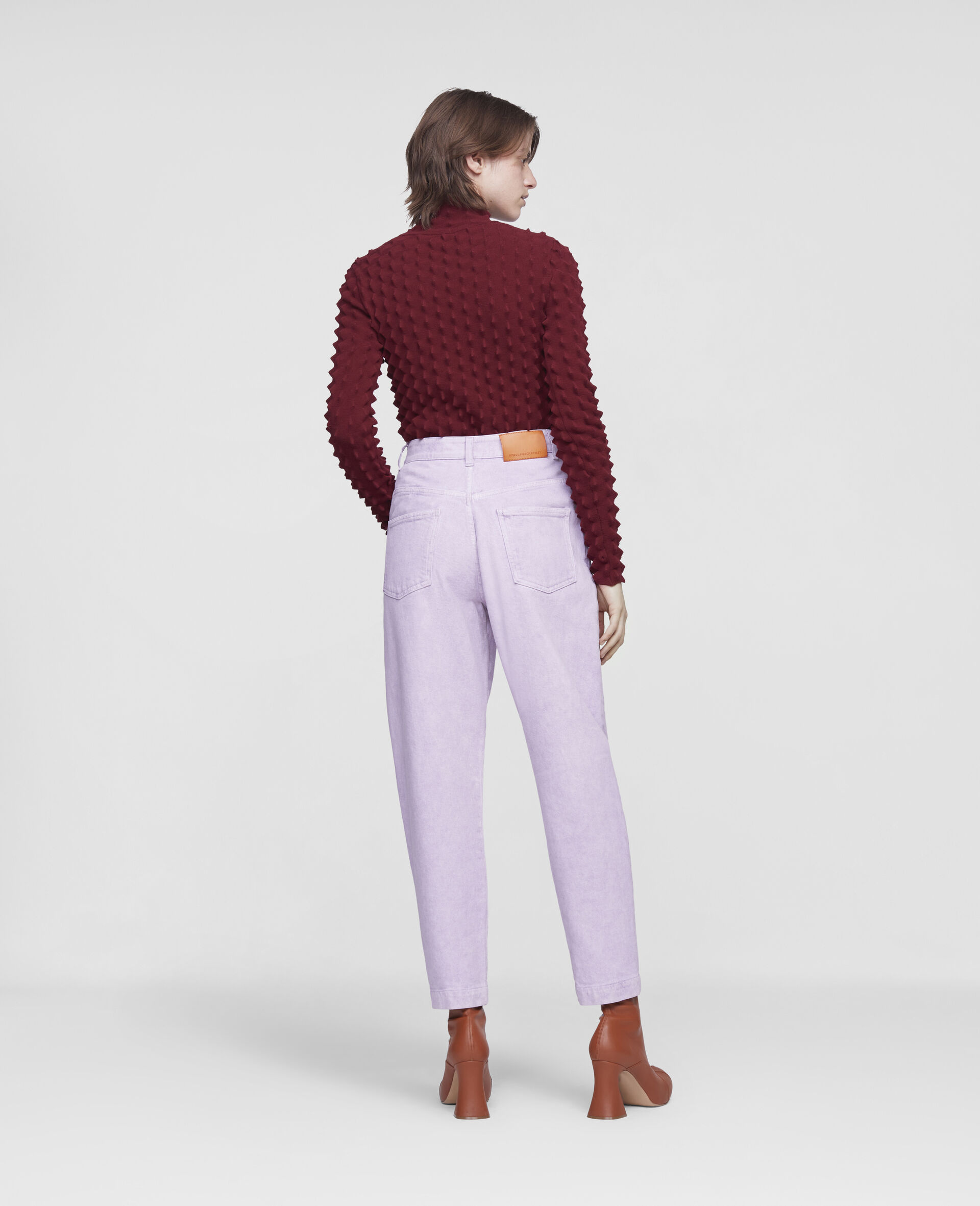 Cropped Denim Pants-Purple-large image number 2