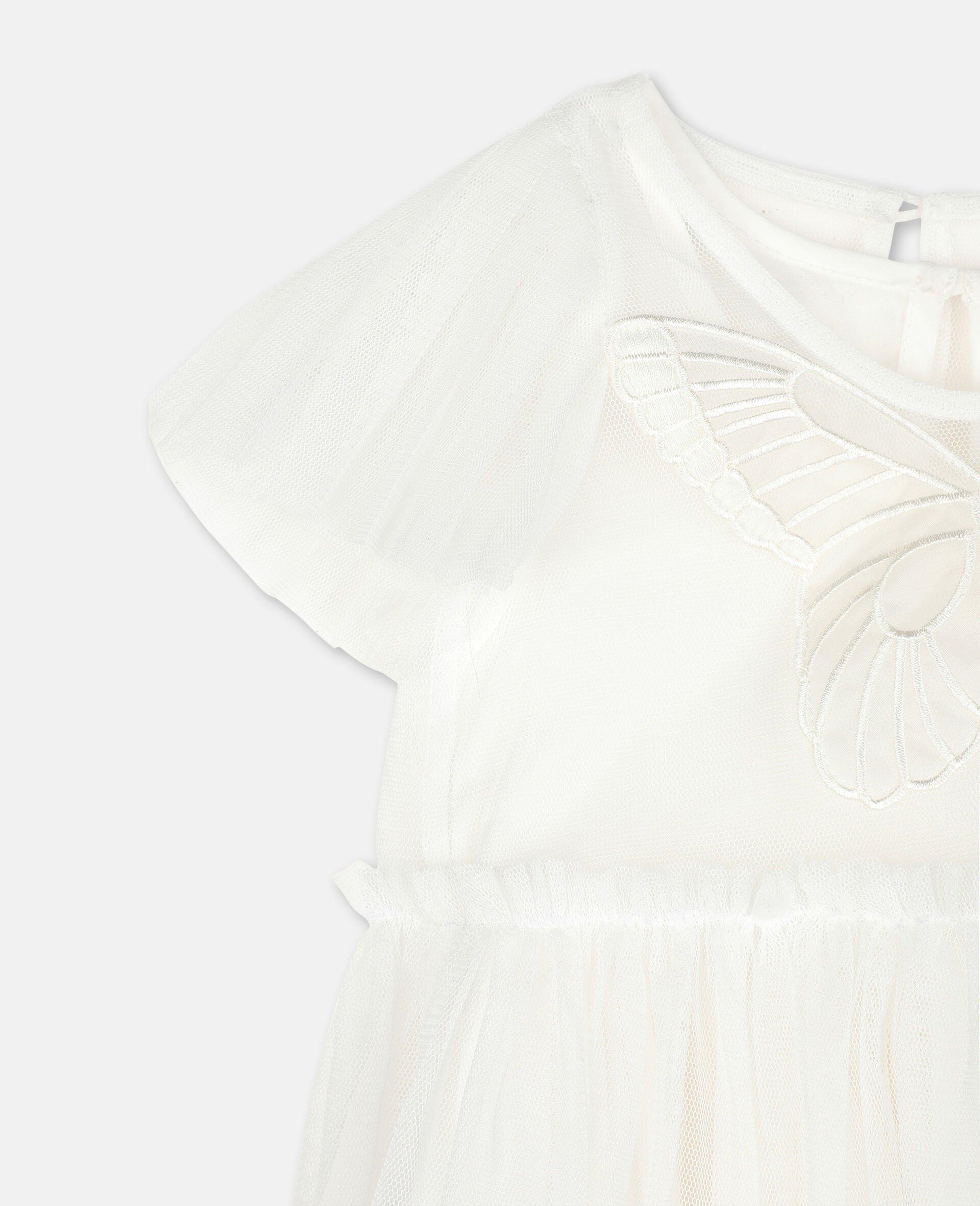 Kleid aus Tüll mit Schmetterling-Aufnäher -Weiß-large image number 2