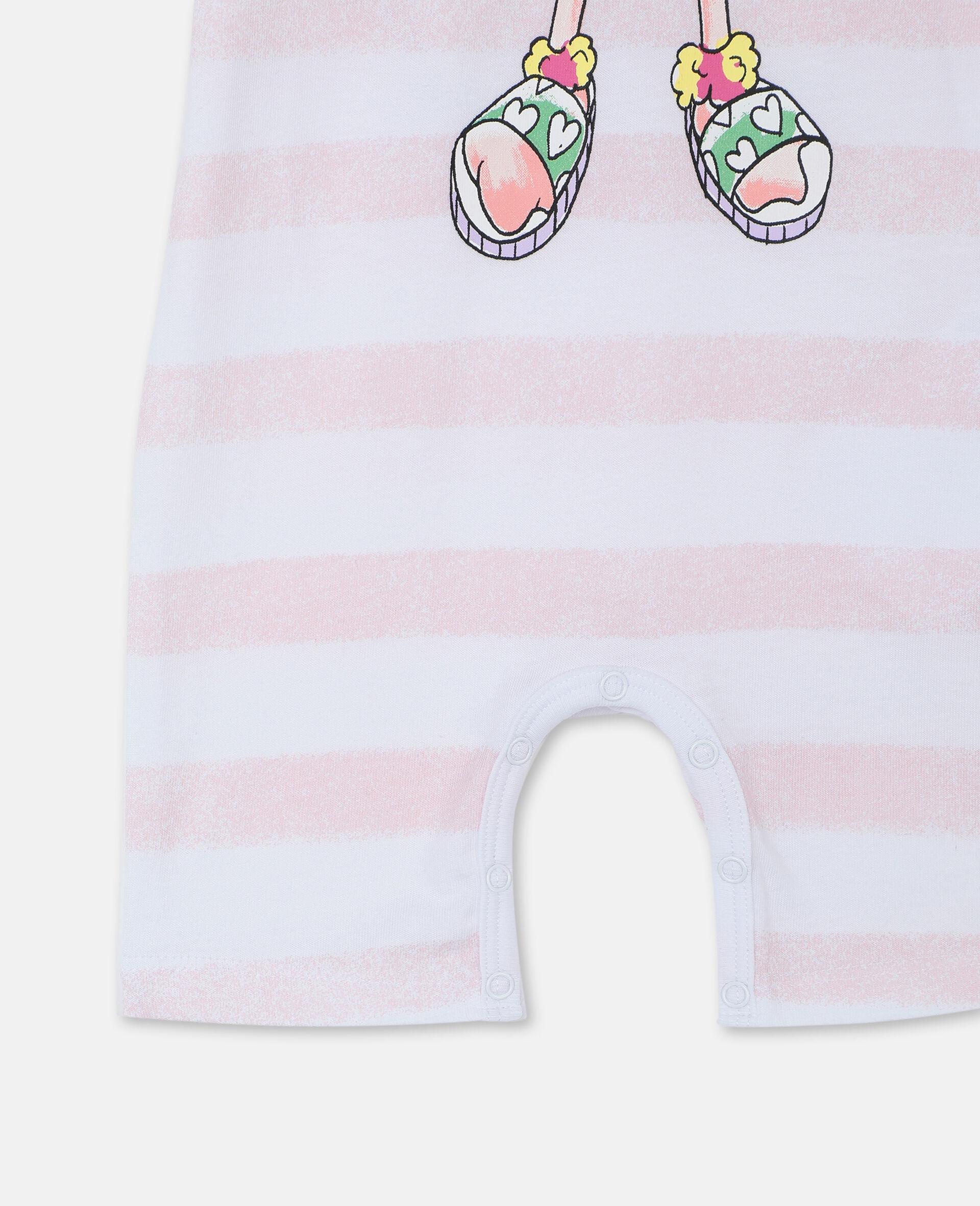 Trompe-L'Oeil Flamingo Cotton Jumpsuit-White-large image number 2
