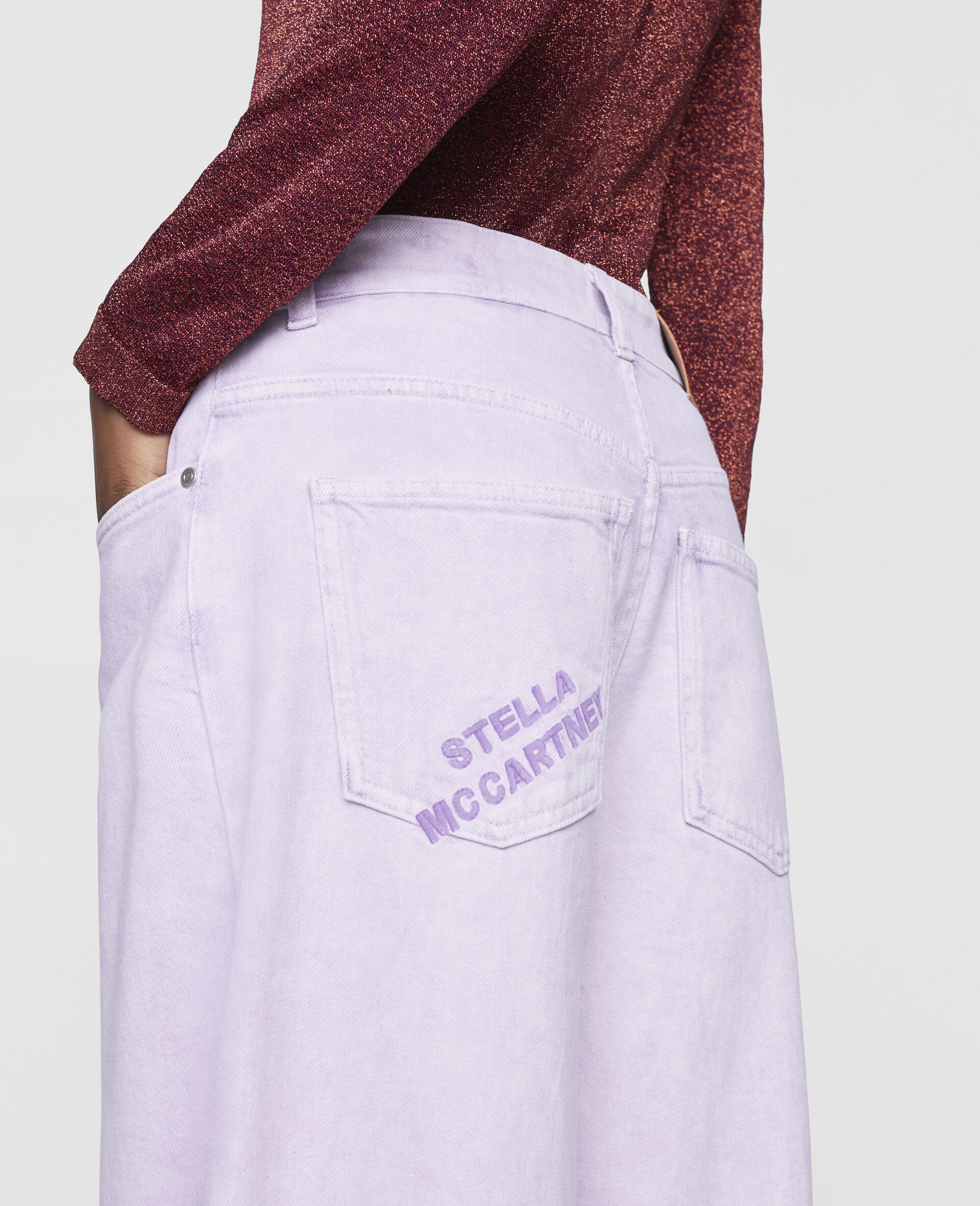 Flared Denim Trousers-Purple-large image number 3