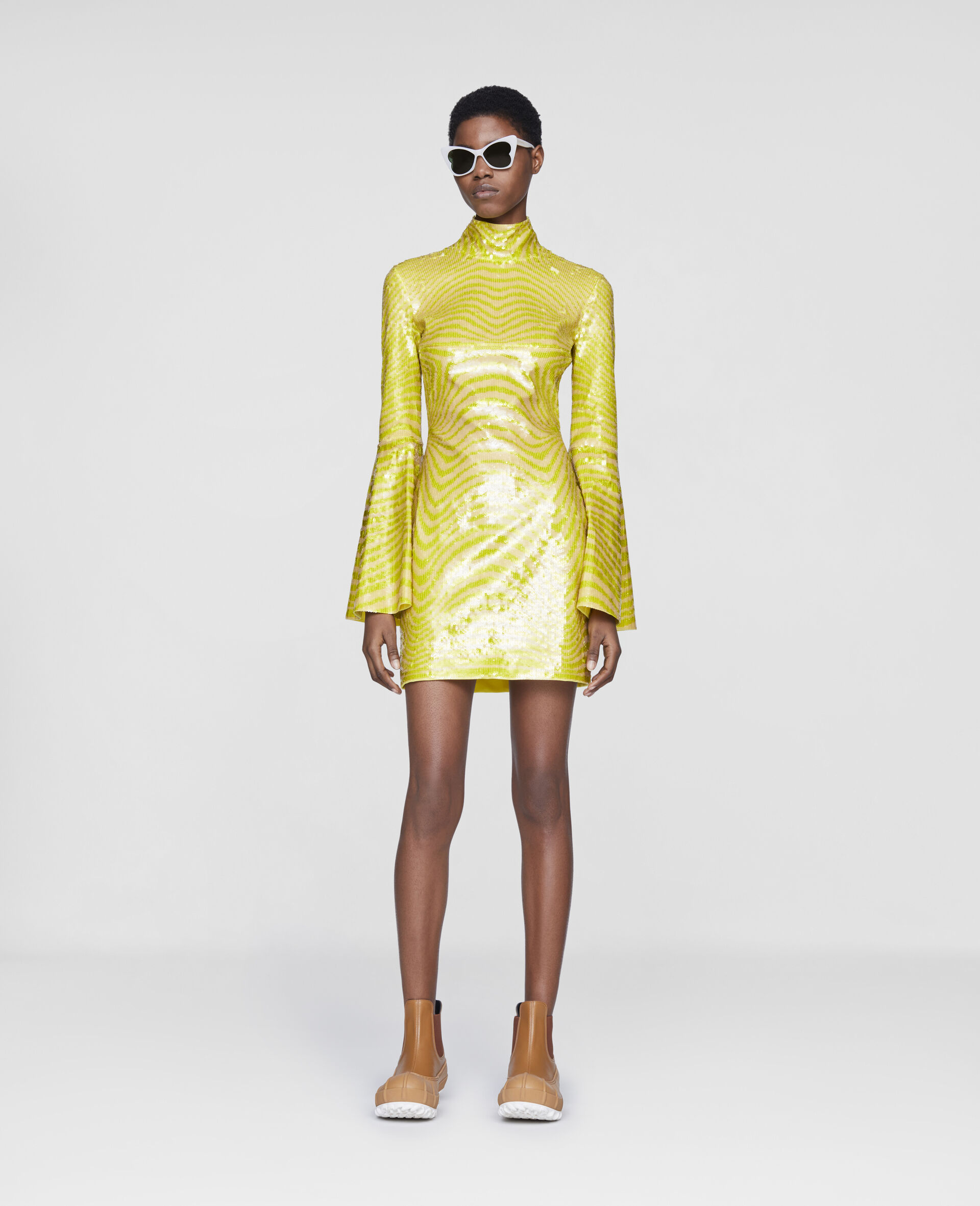 Milly Mini Dress-Yellow-large image number 1
