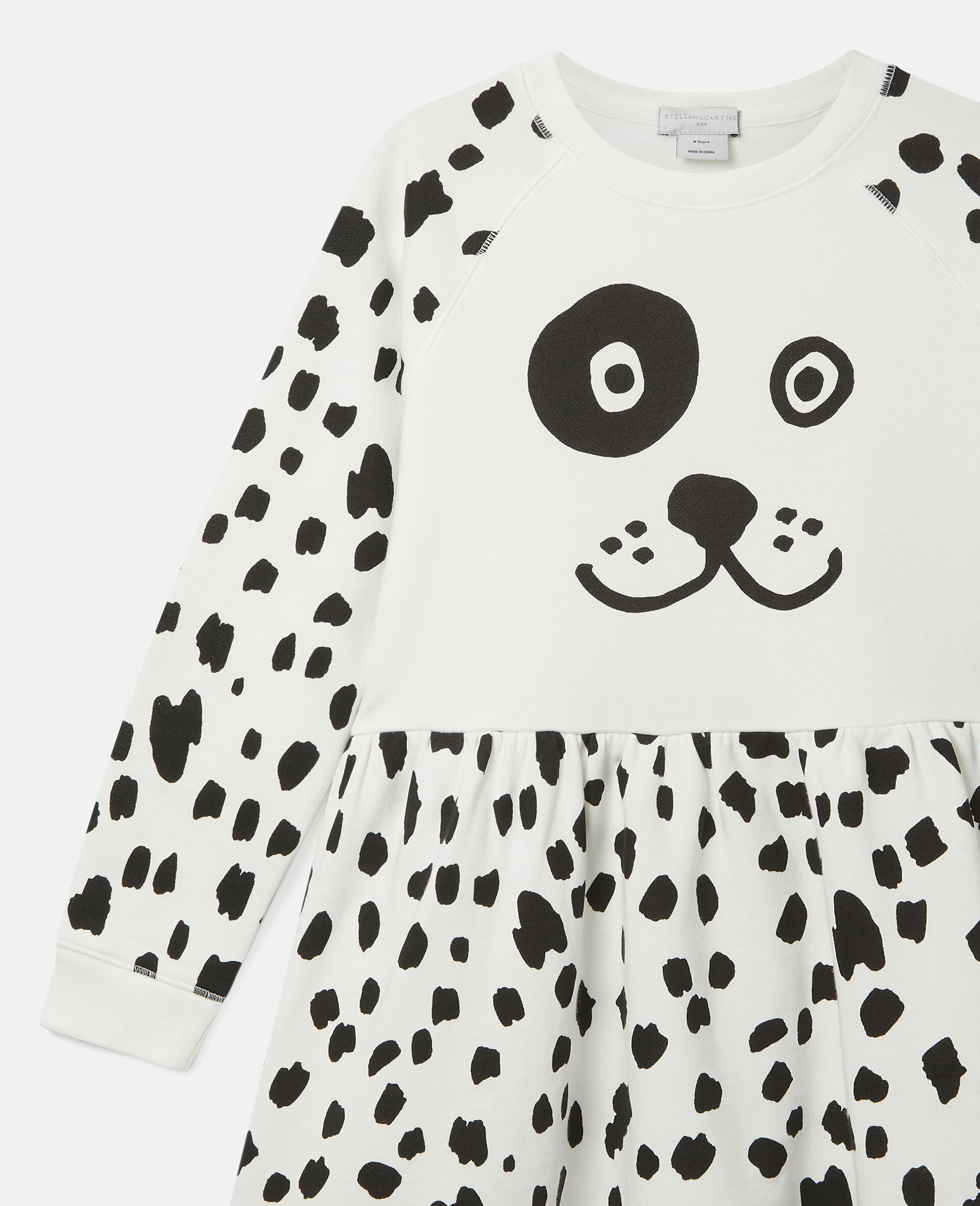 Dalmatian Spots Fleece Dress-White-large image number 2