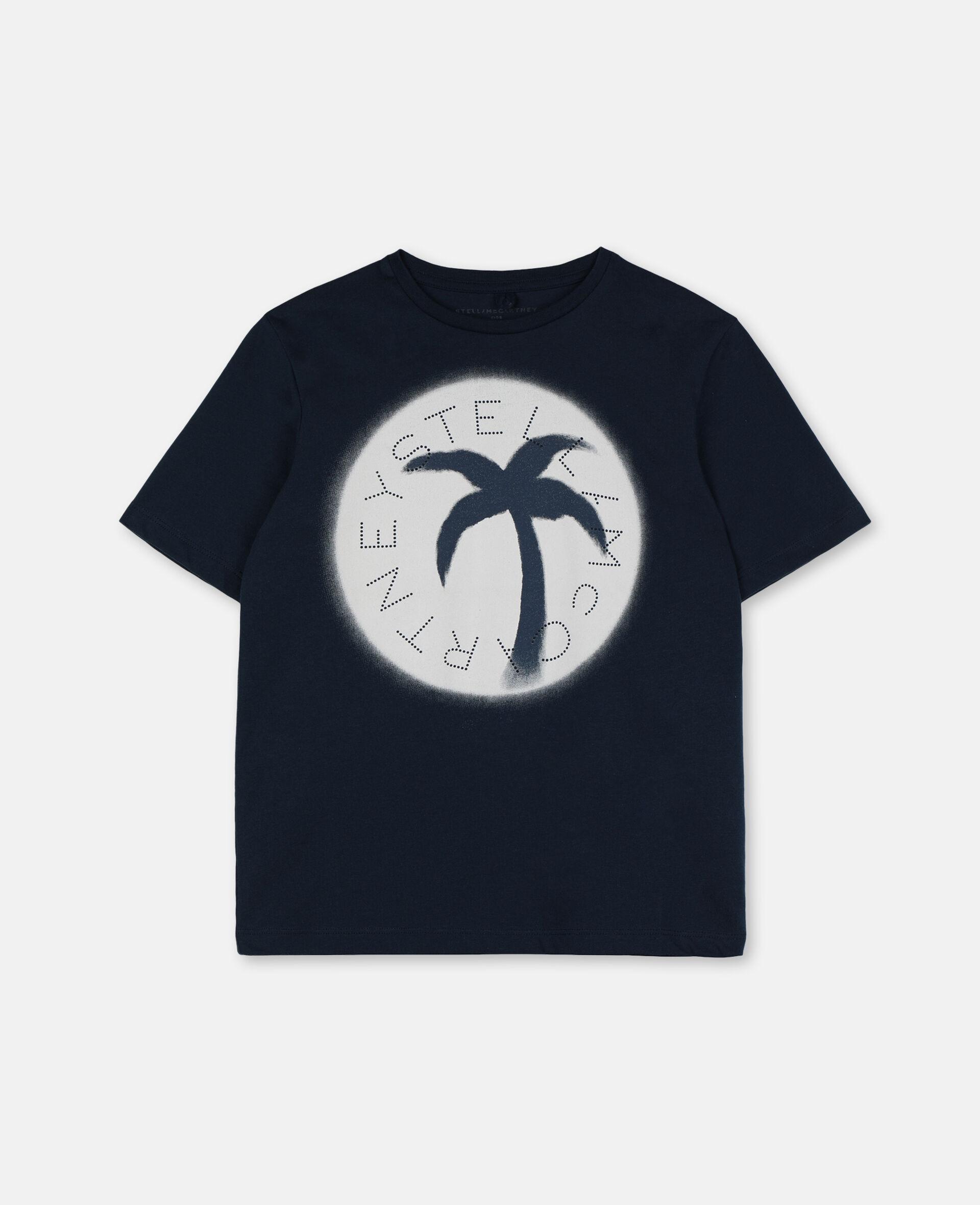 パーム オーバーサイズ コットン ロゴ Tシャツ-ブルー-large image number 0