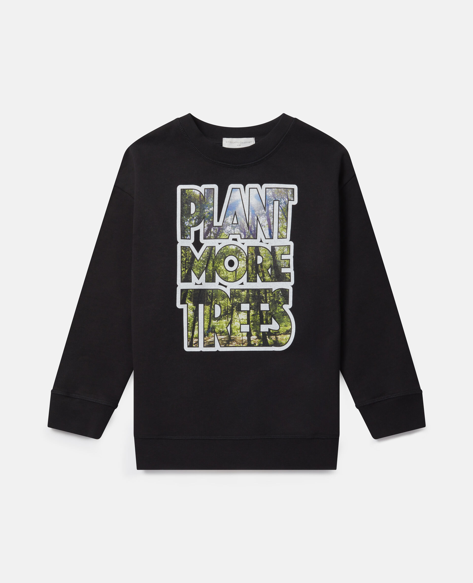 Oversized 'Plant More Trees' Fleece Sweatshirt-Black-large image number 0