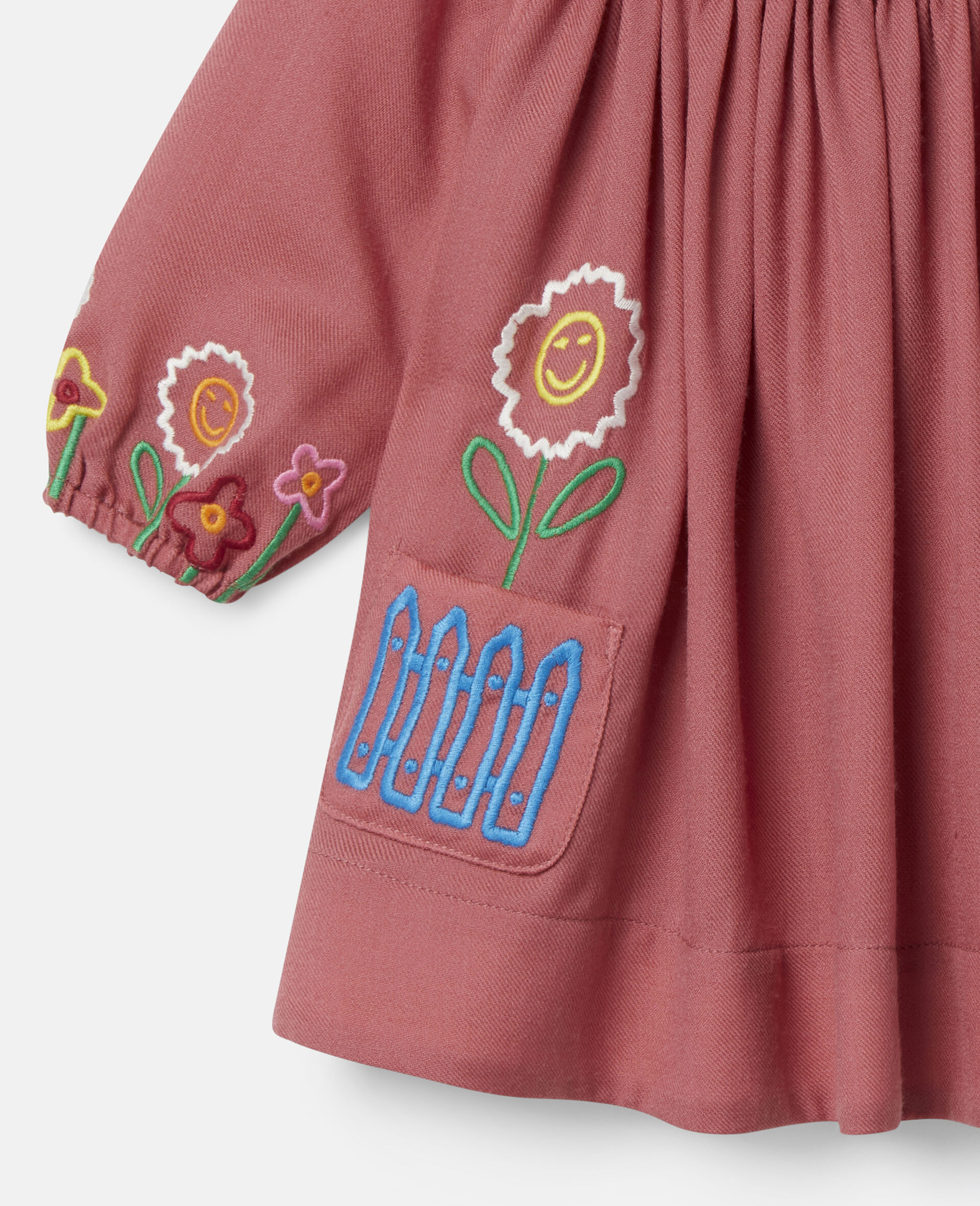 Embroidered Garden Wool Dress-Red-large image number 1