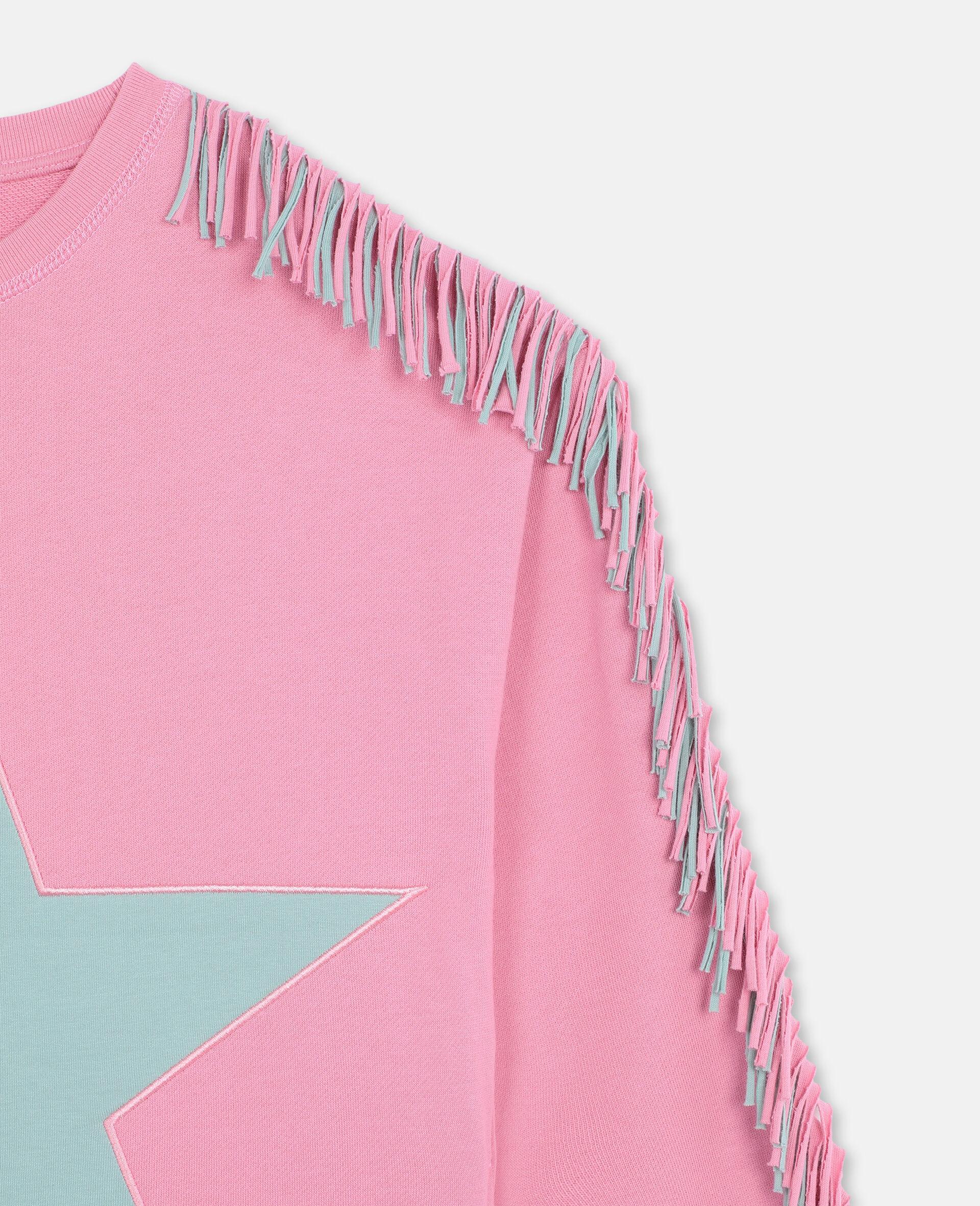 Star & Fringes Cotton Fleece Dress-Pink-large image number 1