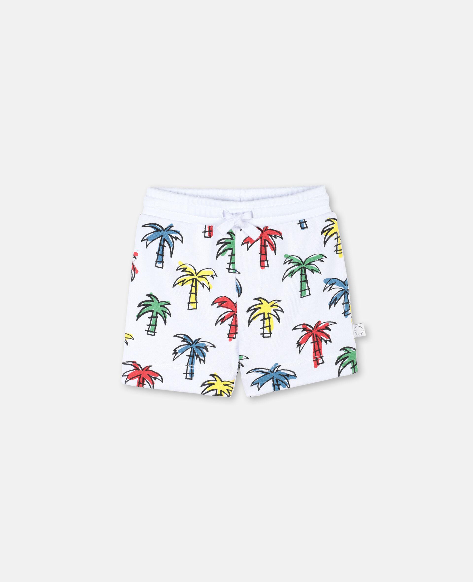 Short en coton à motif palmiers gribouillés -Fantaisie-large image number 0