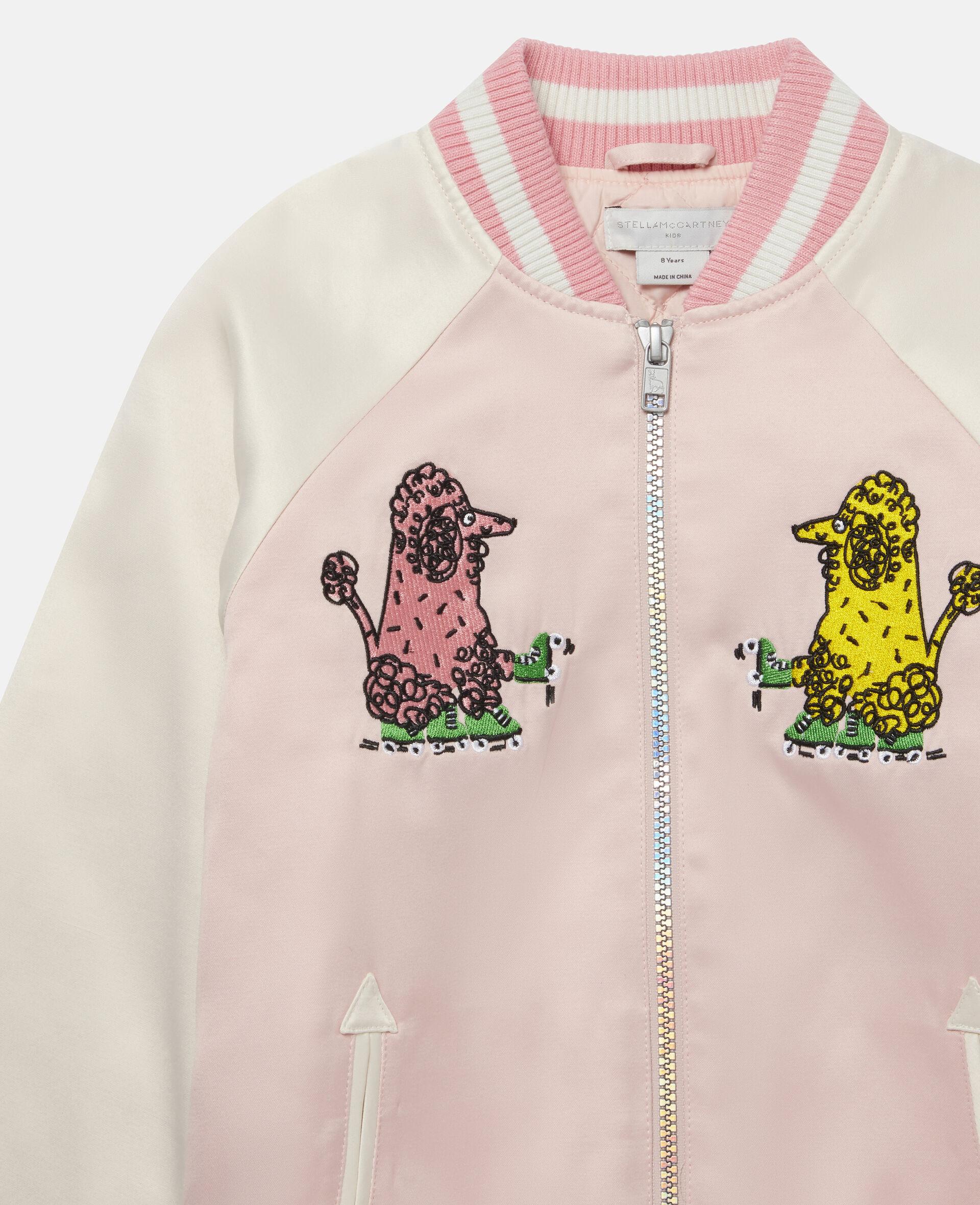 Embroidered Poodles Satin Jacket-Pink-large image number 1