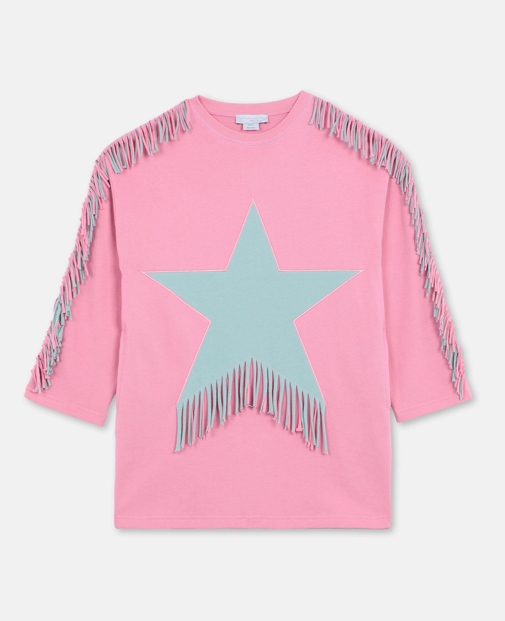 Star & Fringes Cotton Fleece Dress-Pink-large image number 0