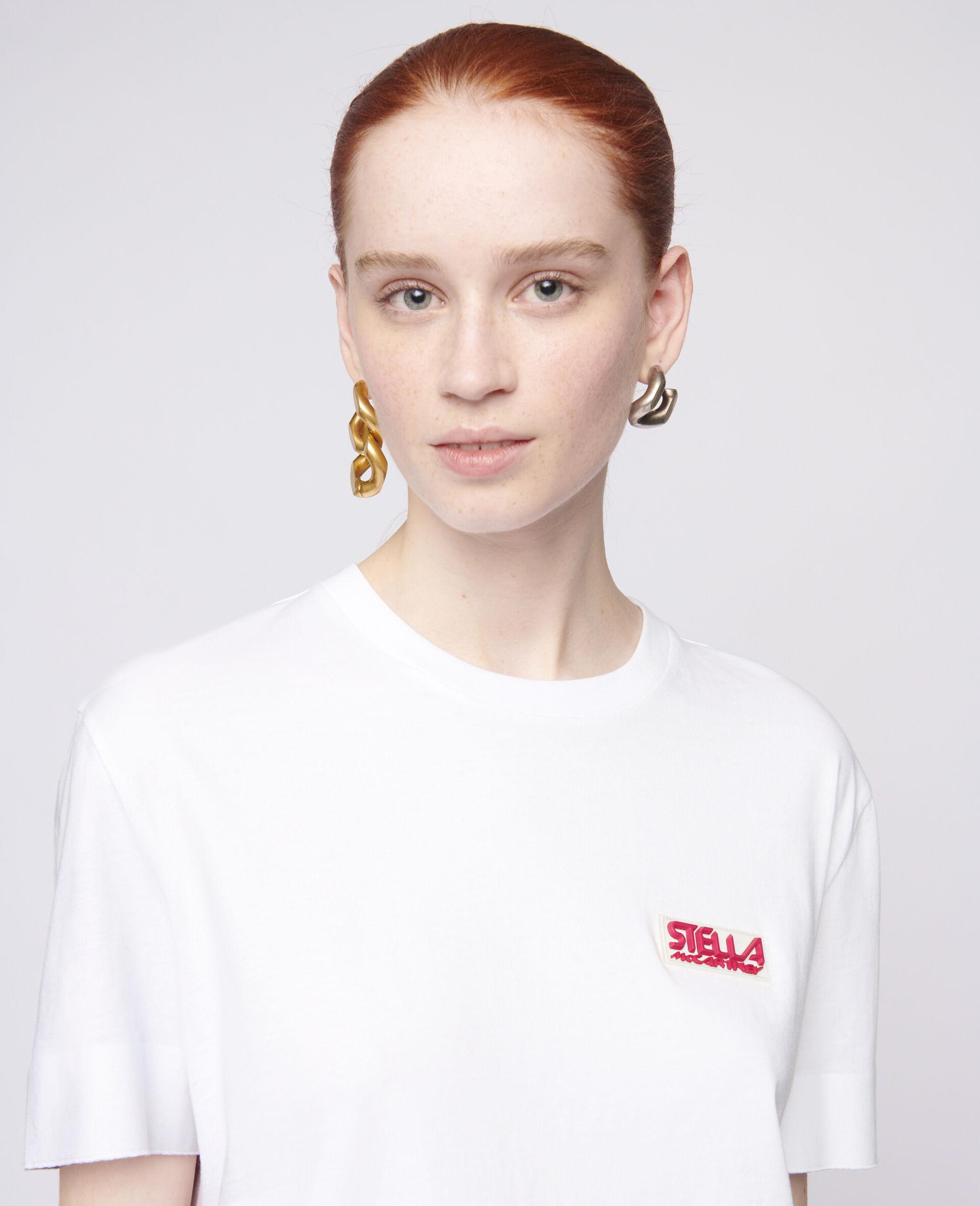 Baumwoll-T-Shirt mit Logo-Weiß-large image number 3