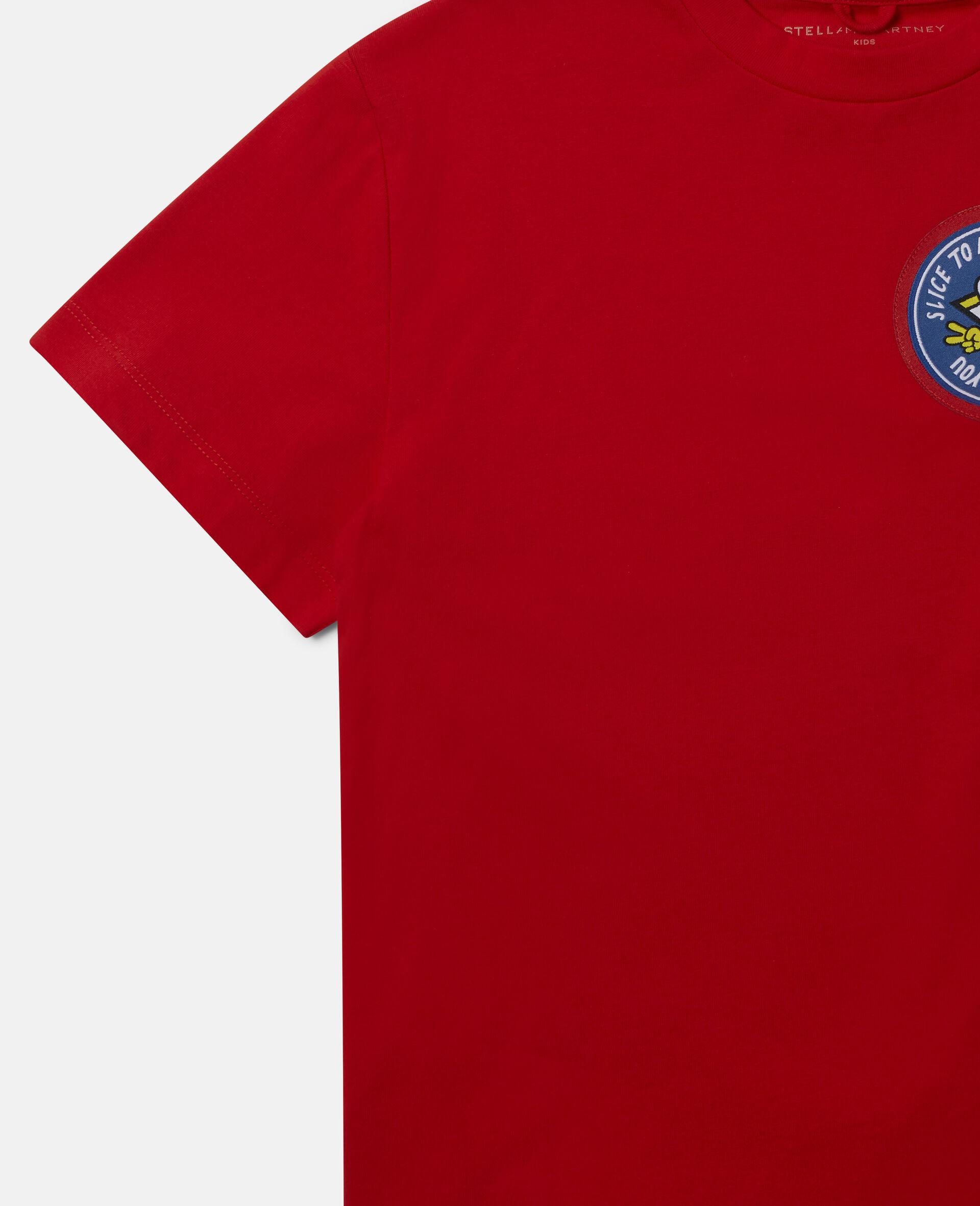 Übergroßes Baumwoll-T-Shirt mit Pizza-Aufnäher -Rot-large image number 2
