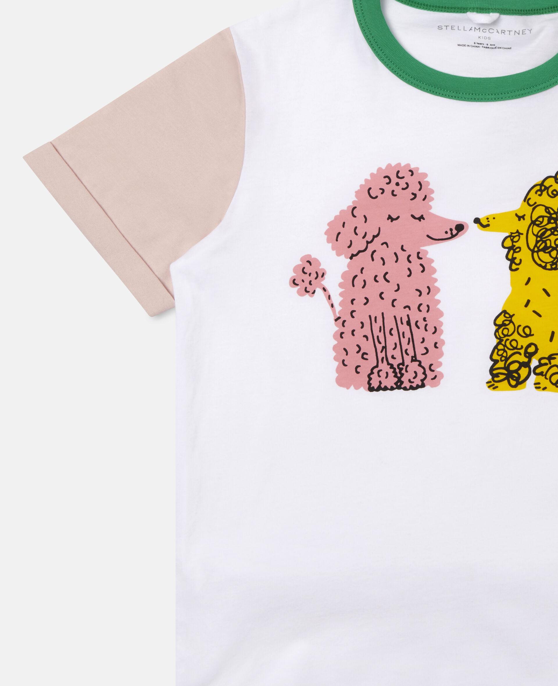 T-shirt en coton motif caniches amoureux-Blanc-large image number 2