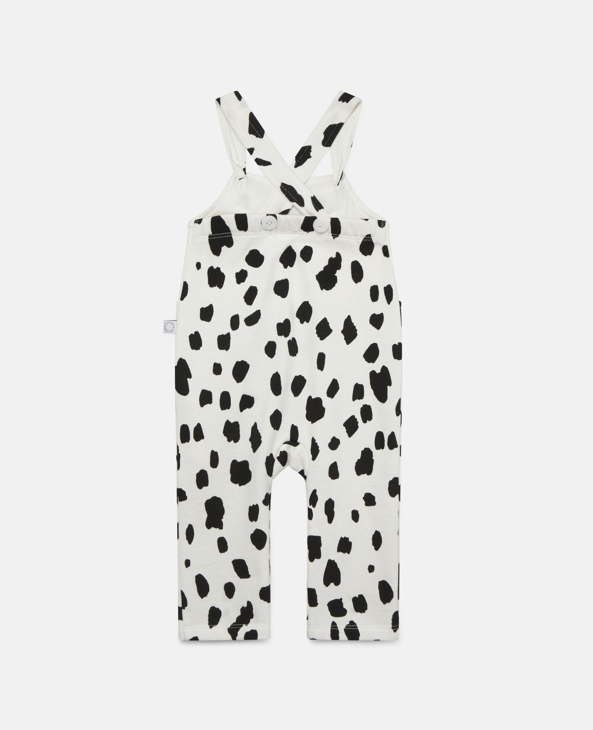 Fleece-Jumpsuit mit Dalmatinerflecken-Print-Weiß-large image number 3