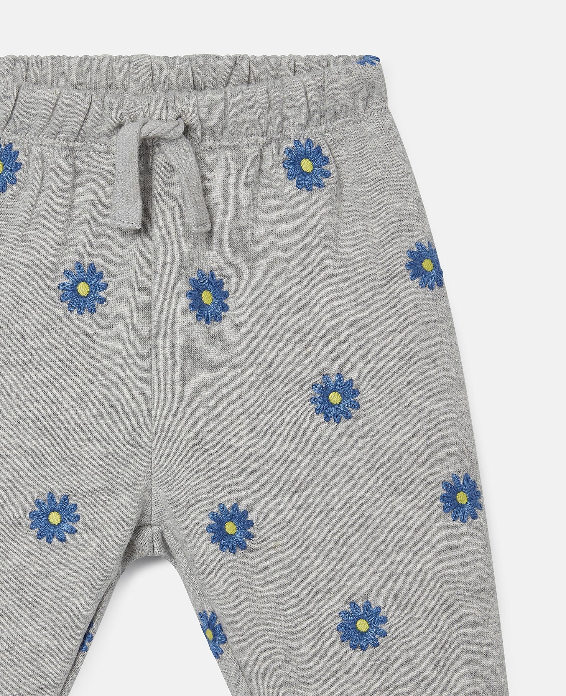 Pantalon de jogging en polaire de coton à marguerites brodées-Gris-large image number 1