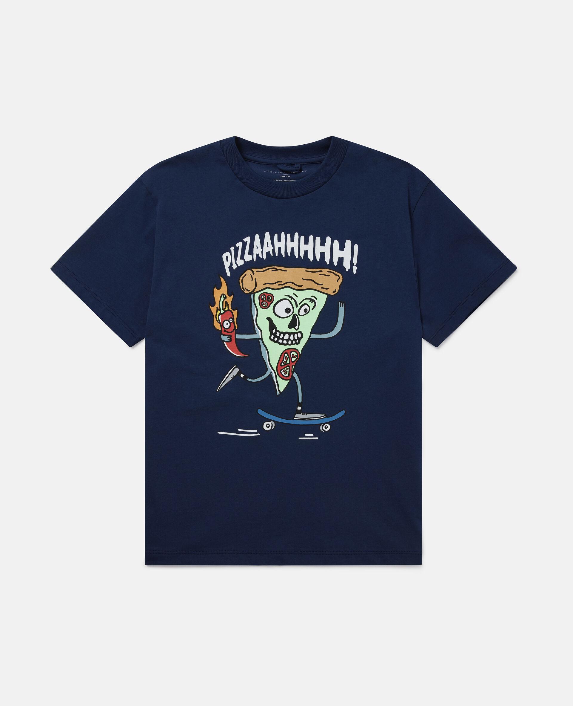 Übergroßes T-Shirt mit Pizza-Skater-Motiv-Blau-large image number 0