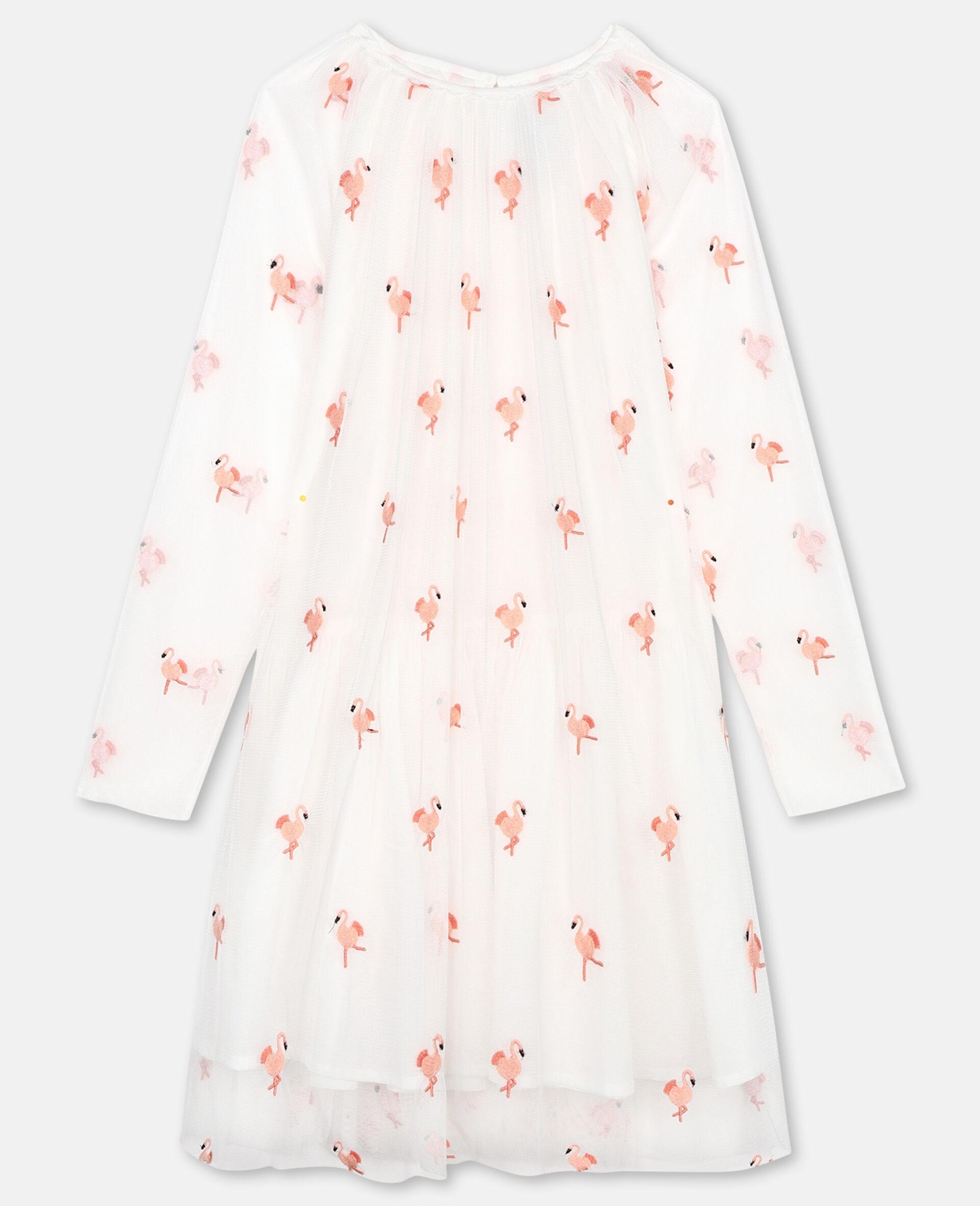 Tüllkleid mit Flamingo-Stickerei-Weiß-large image number 0