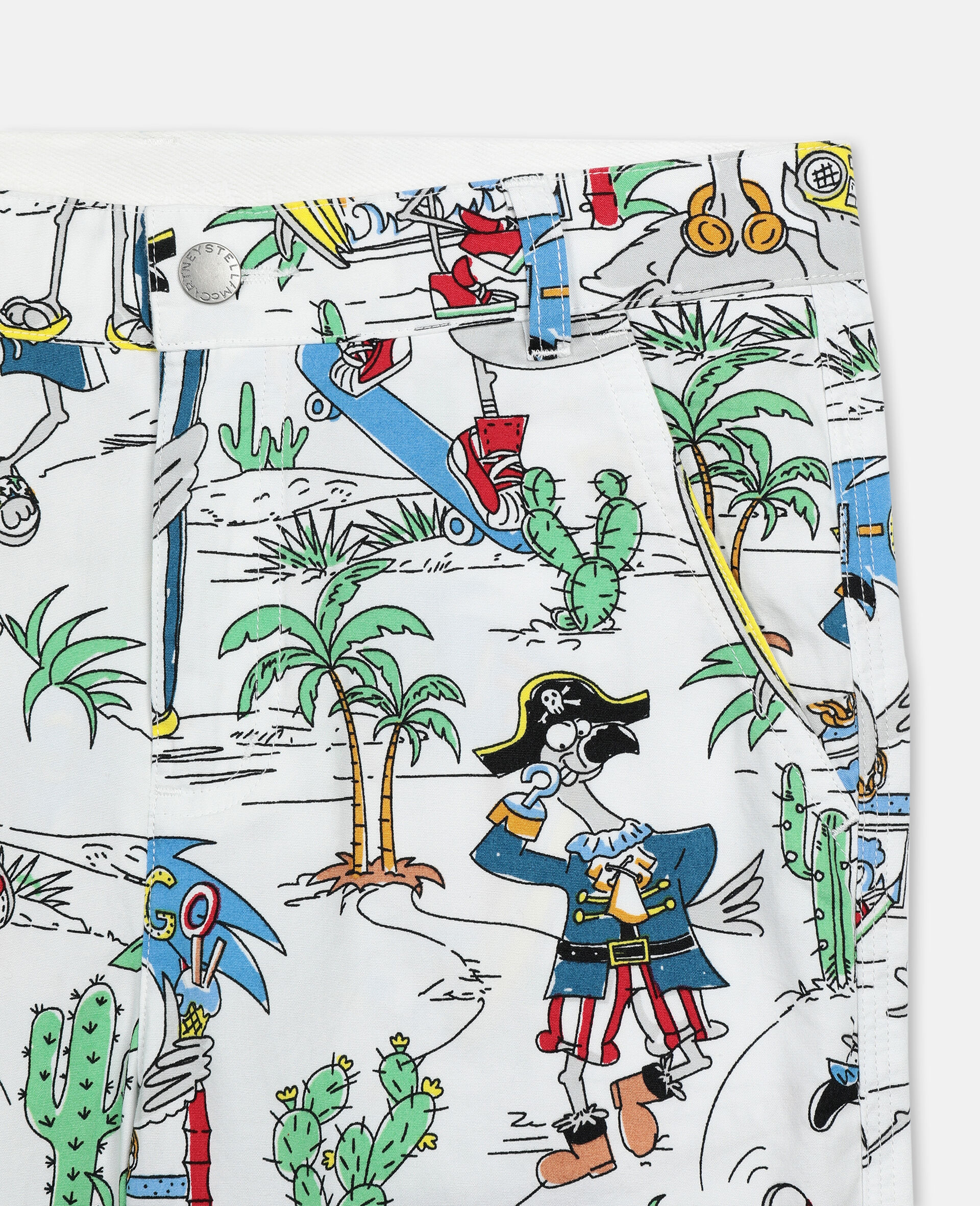 Baumwollshorts mit Flamingo-Land-Print -Bunt-large image number 2