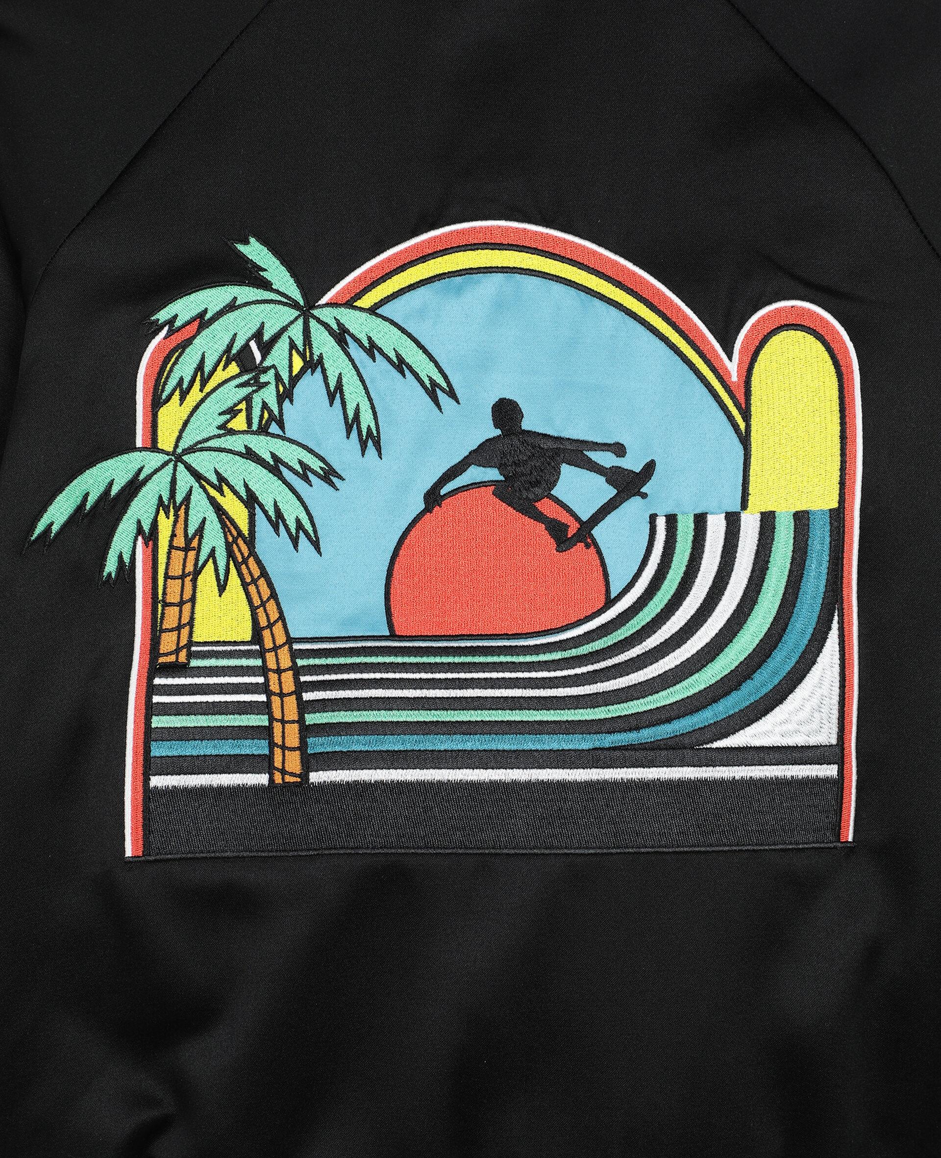 Embroided Palms Satin Bomber    -Black-large image number 2