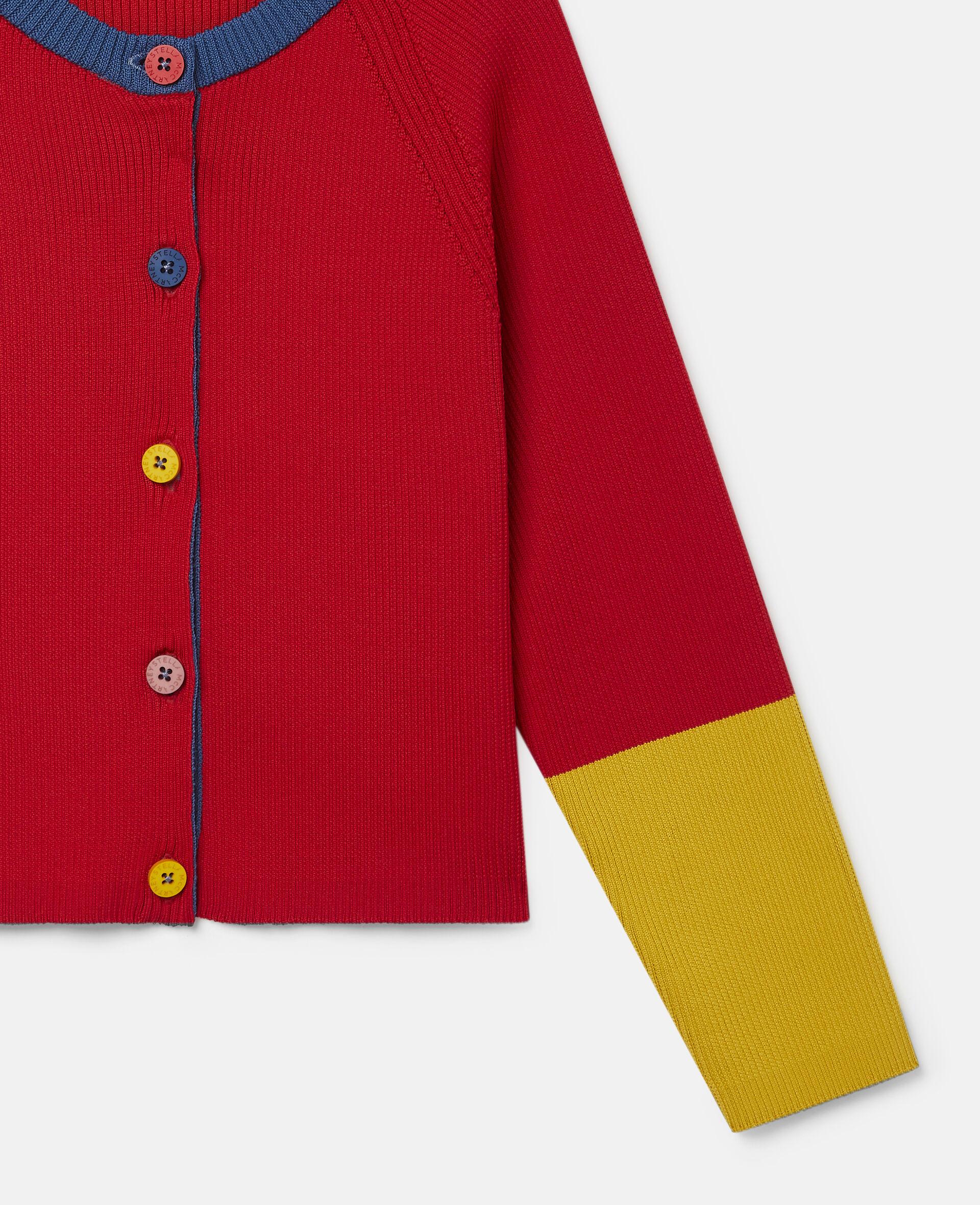 Colourblock Knit Rib Cardigan  -Red-large image number 2
