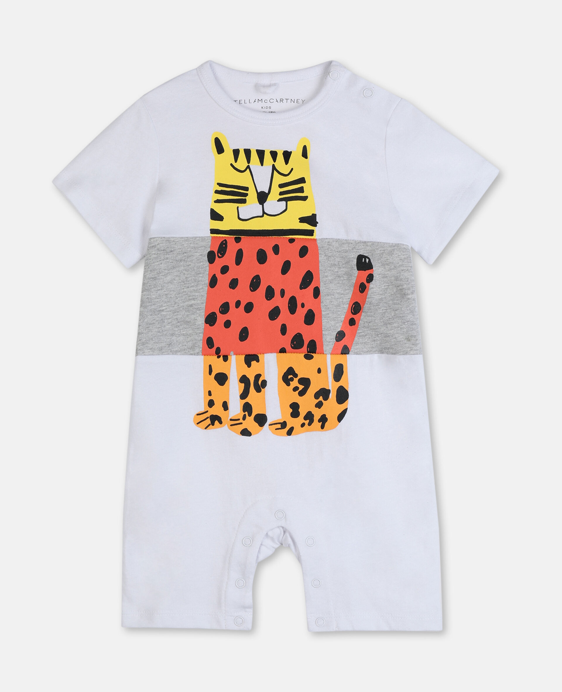 Jumpsuit aus Baumwolle mit Tiger-Print-Weiß-large image number 0