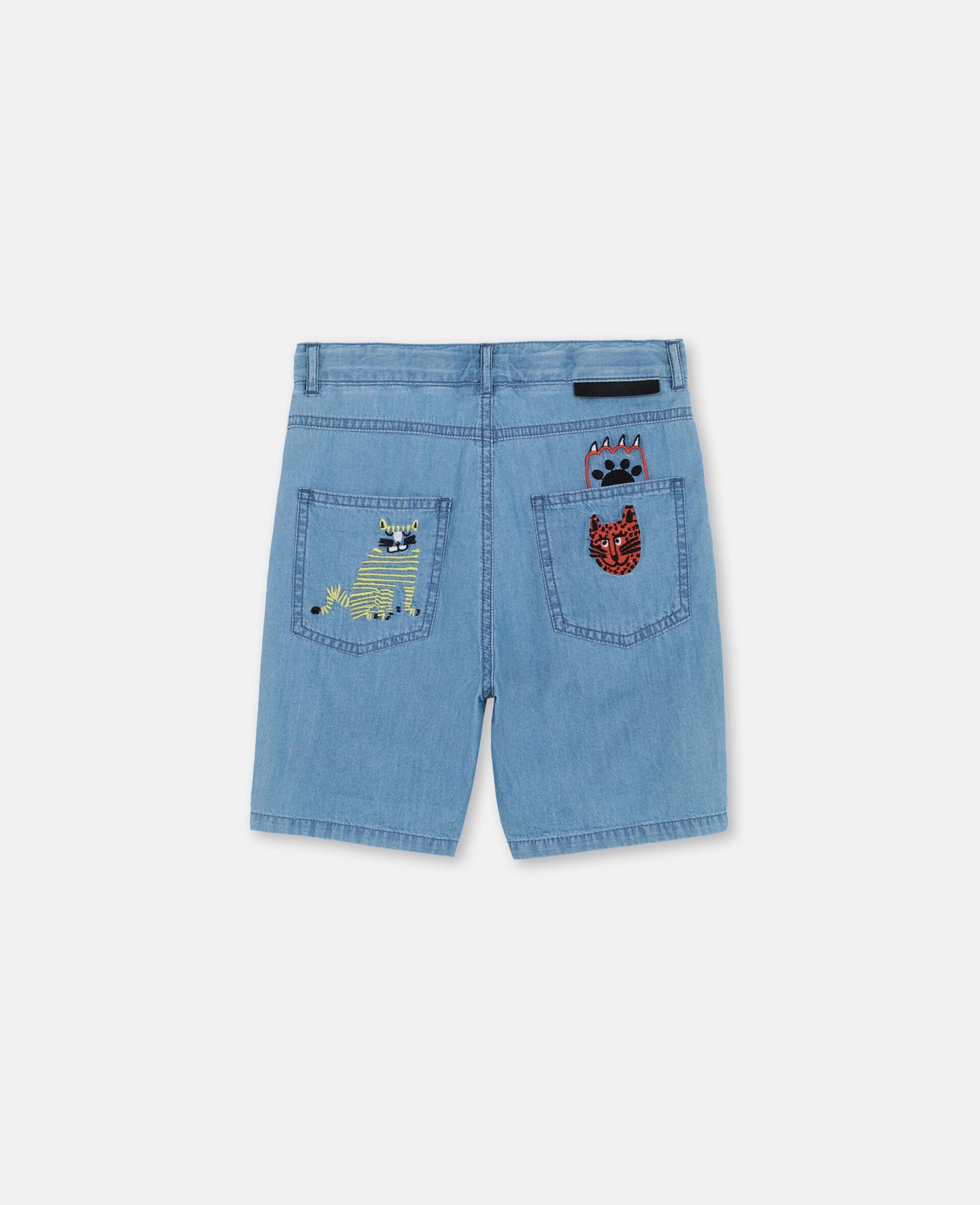 Short en chambray de coton à motif chats brodés -Bleu-large image number 3