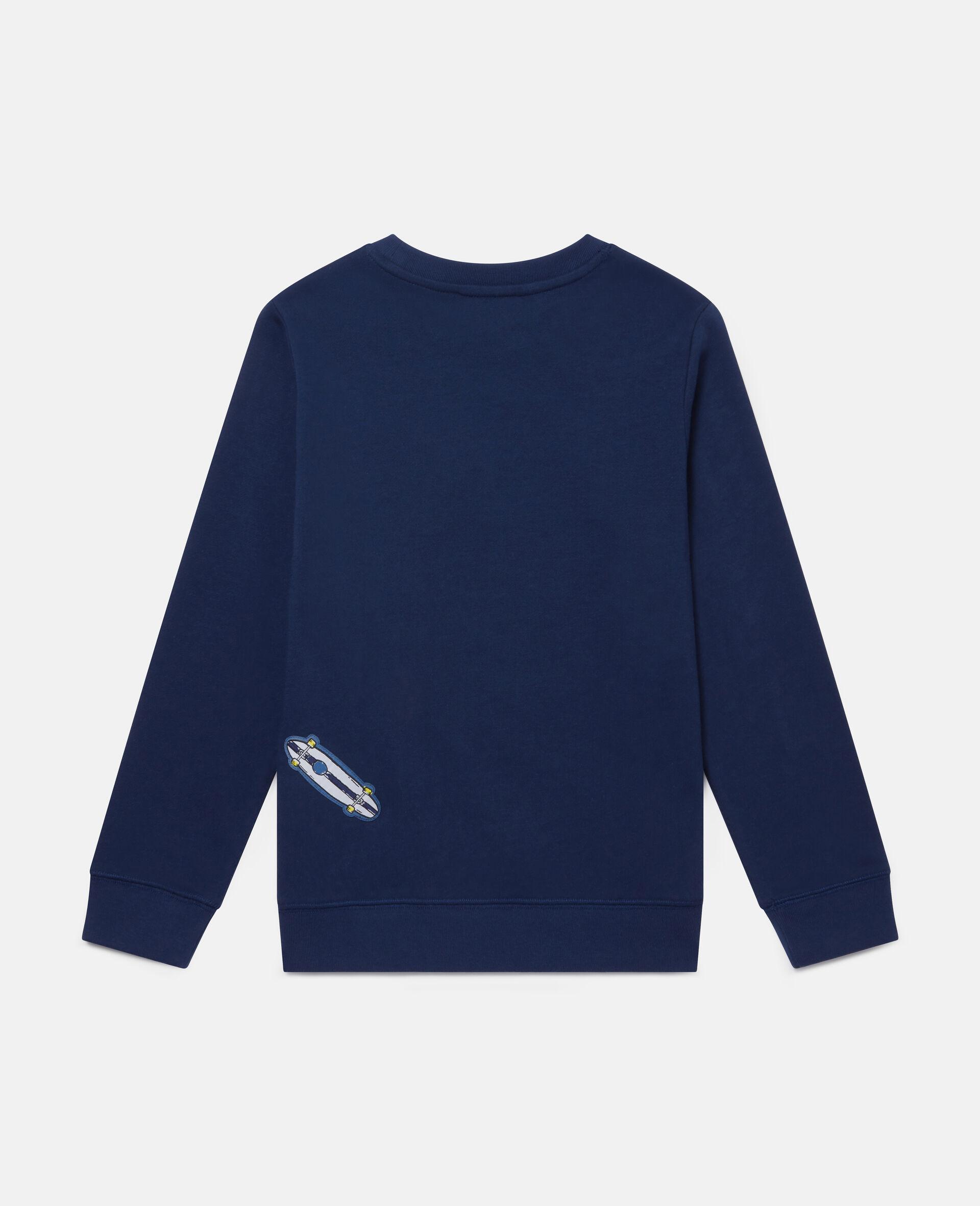 Fleece-Sweatshirt mit Pizza-Aufnähern-Blau-large image number 3