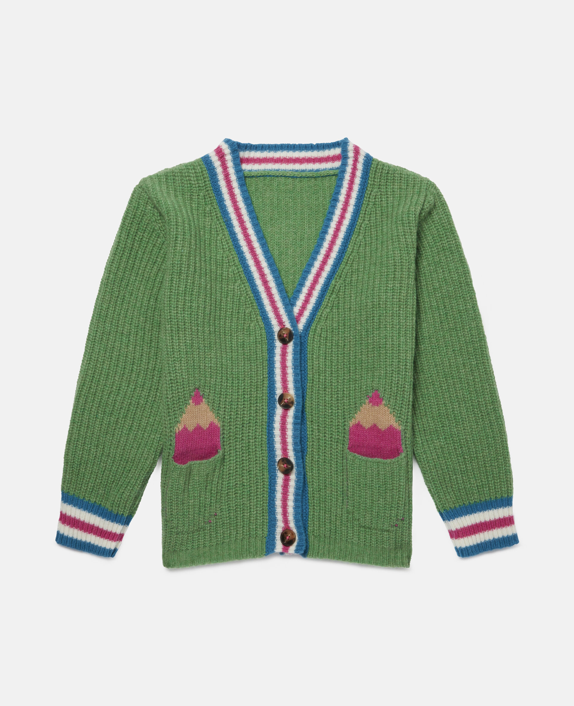 Pencils Knit Intarsia Cardigan -Green-large image number 0