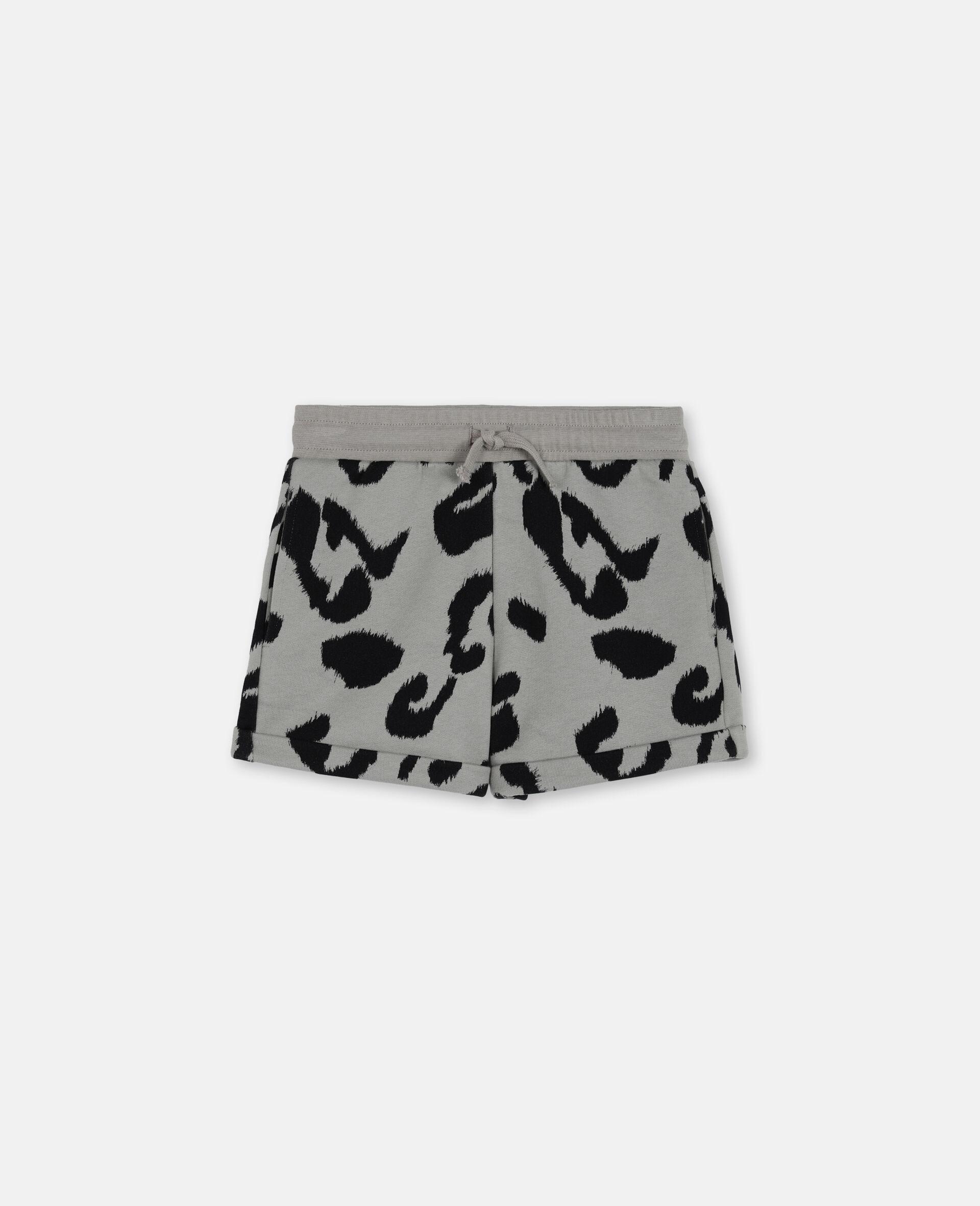 Leopard Cotton Fleece Shorts-Multicoloured-large image number 0