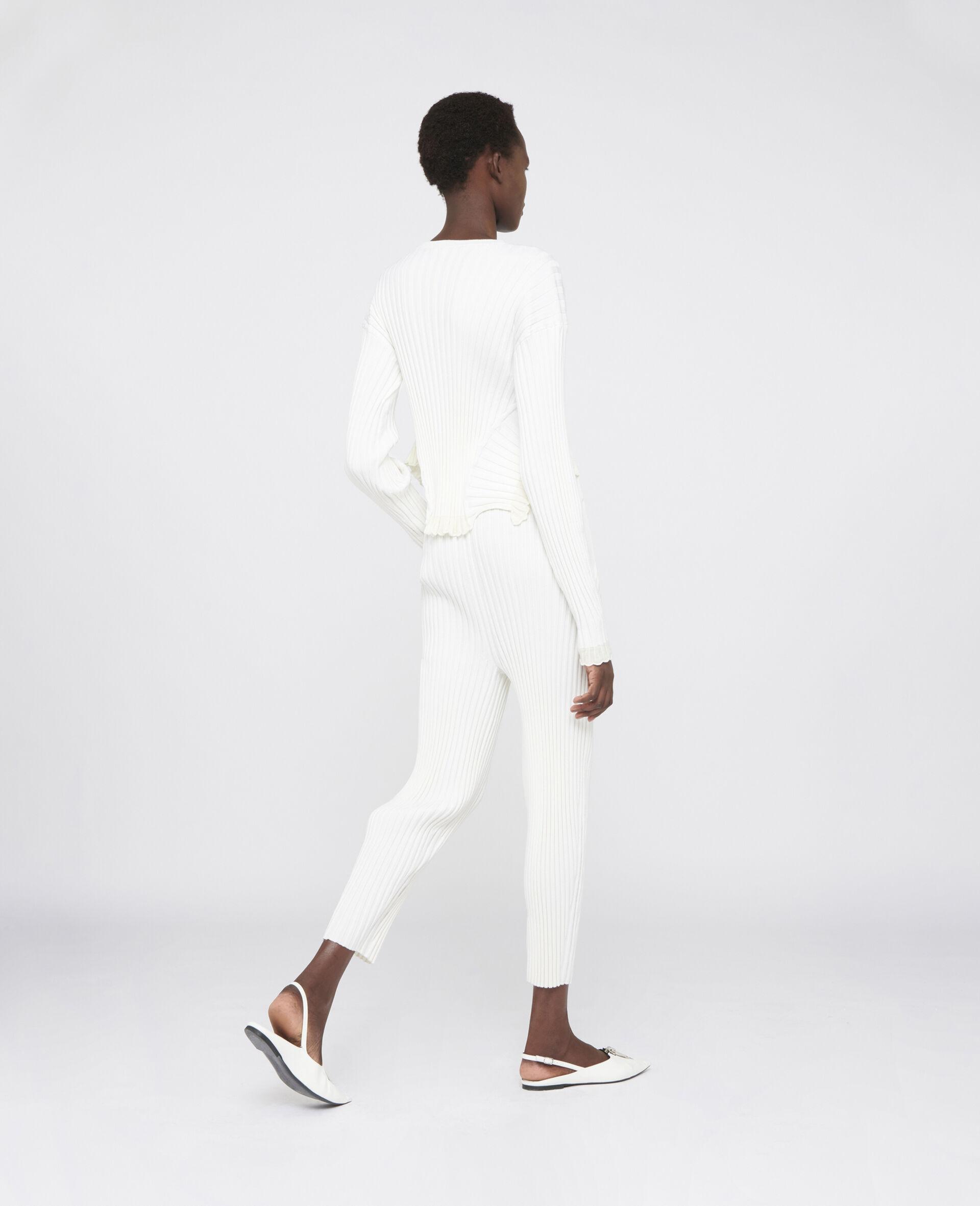 罗纹针织裤装-白色-large image number 2