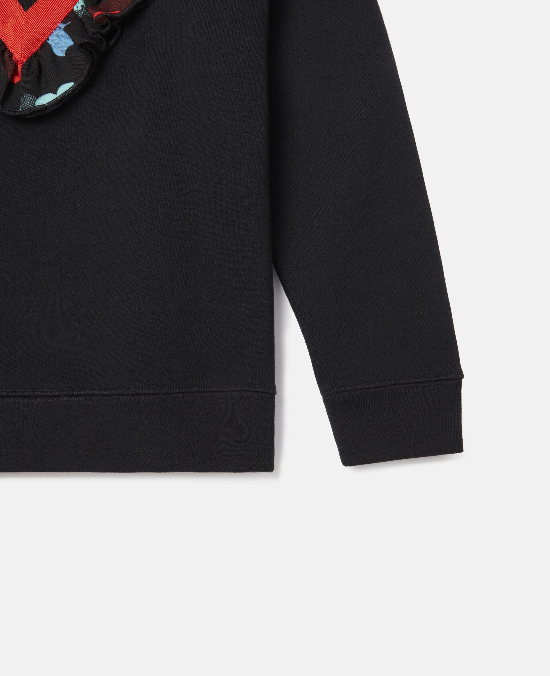 Frilled Fleece Sweatshirt -Black-large image number 2