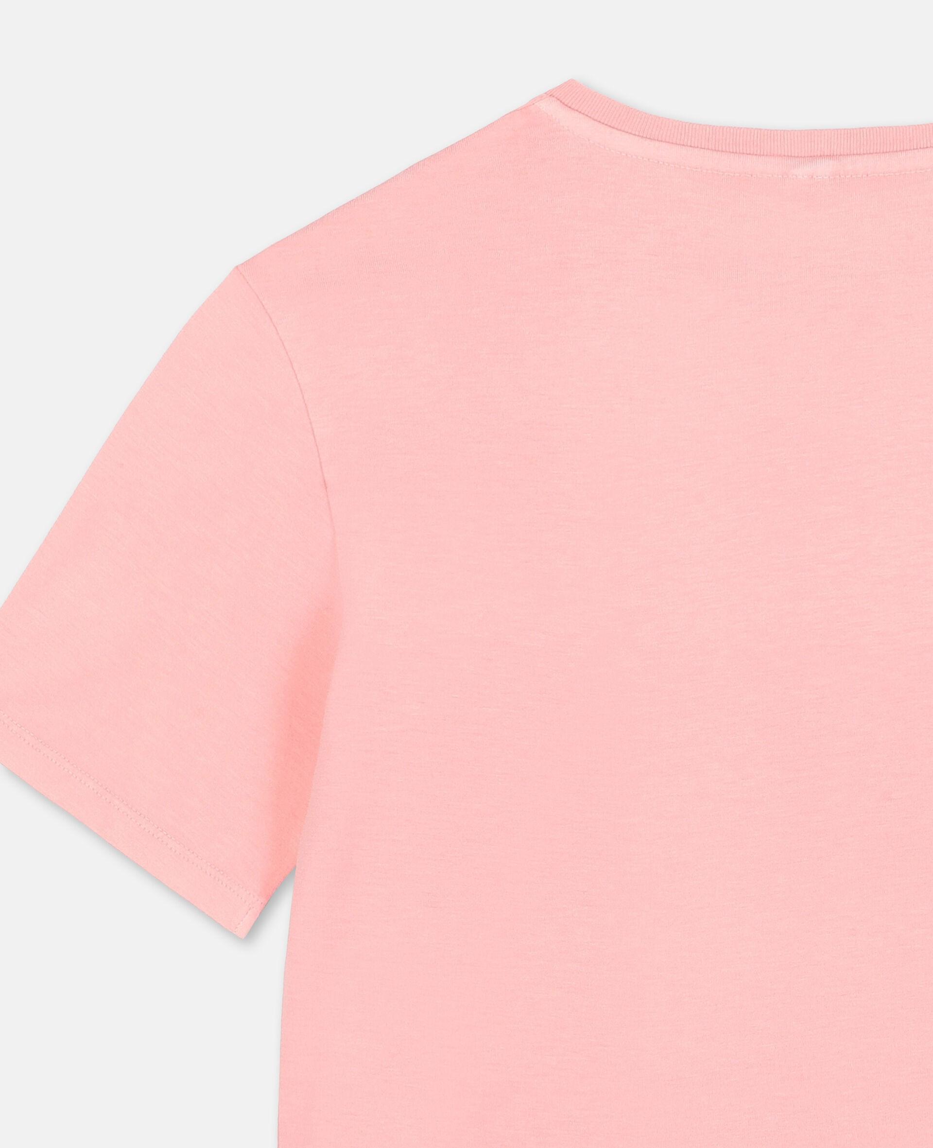 T-shirt oversize en coton avec logo et motif palmier-Rose-large image number 2